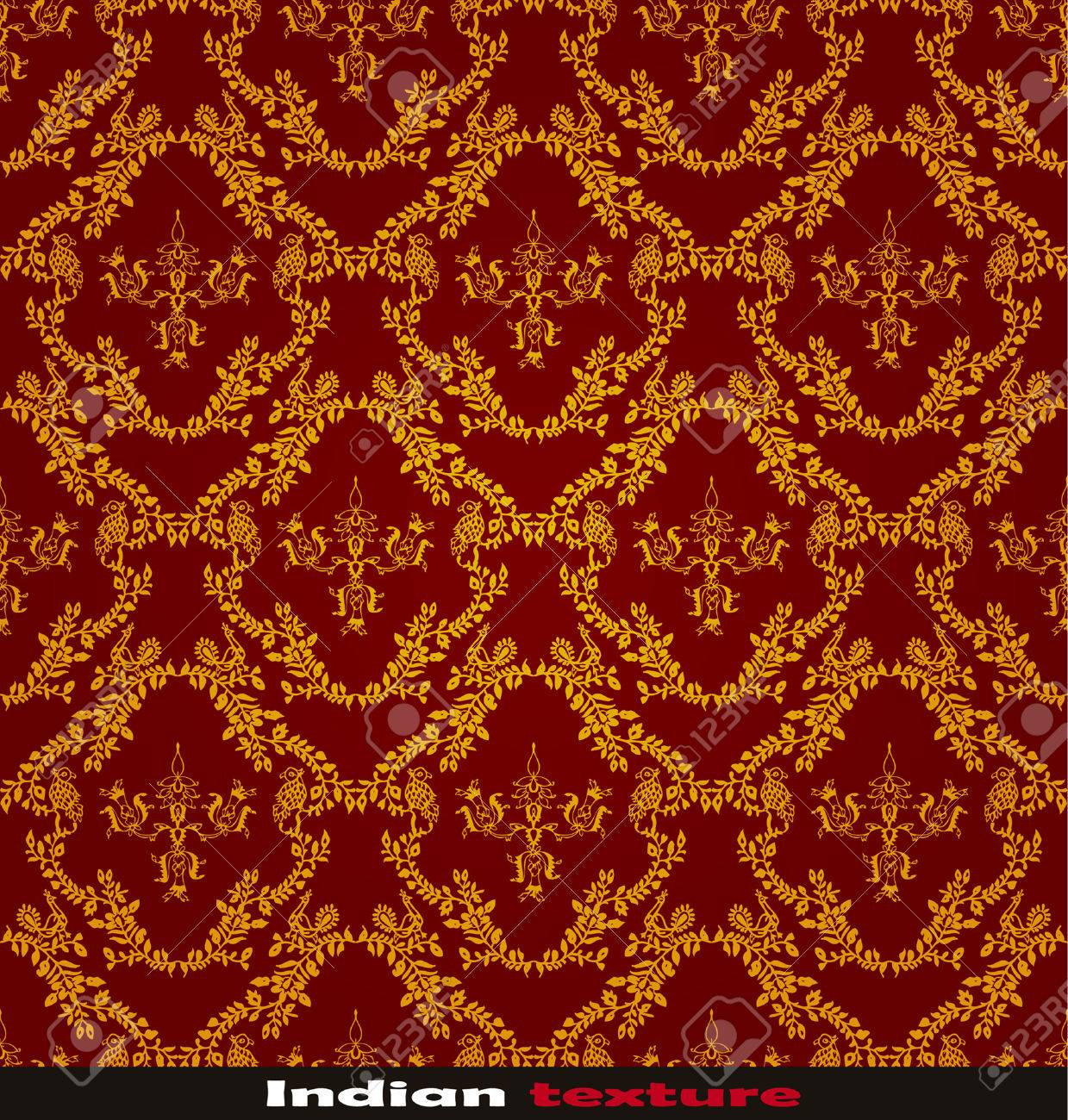 seamless red Indian wallpaper Stock Vector - 8438395