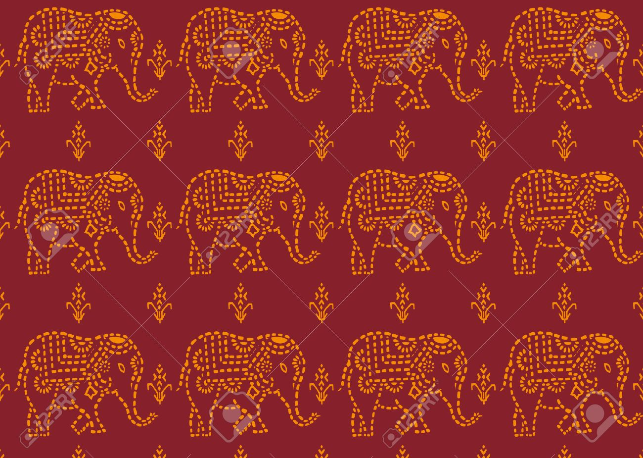Seamless Red And Yellow Indian Elephant Wallpaper