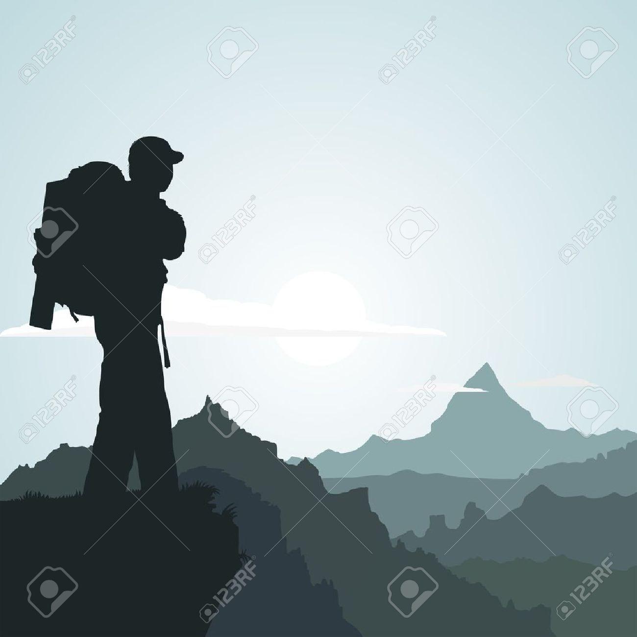 mountain Hiking man with Mountain Hiking Clip Art