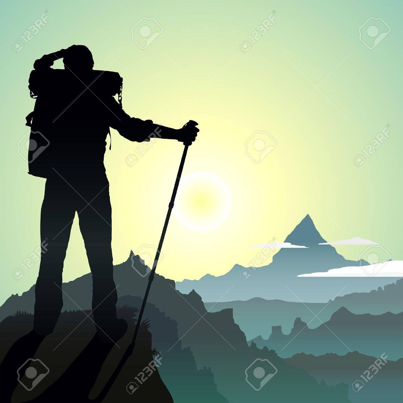 top of mountain Hiking man Mountain Hiking Clip Art