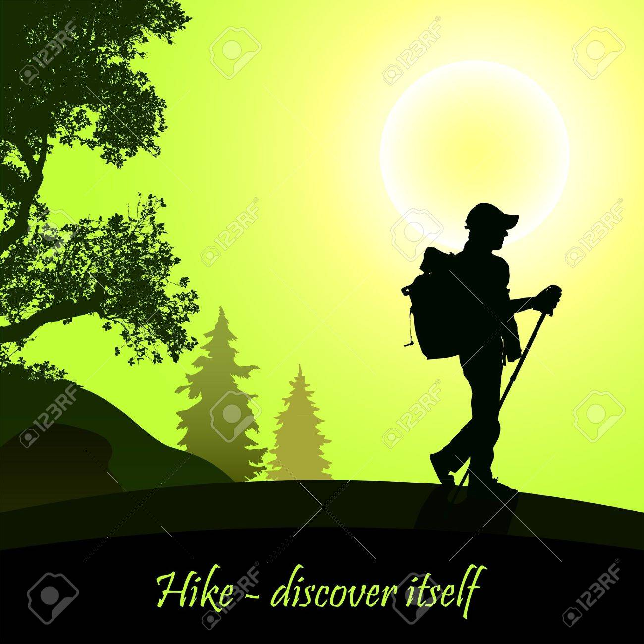 Hiking man with rucksack Stock Vector - 12482669