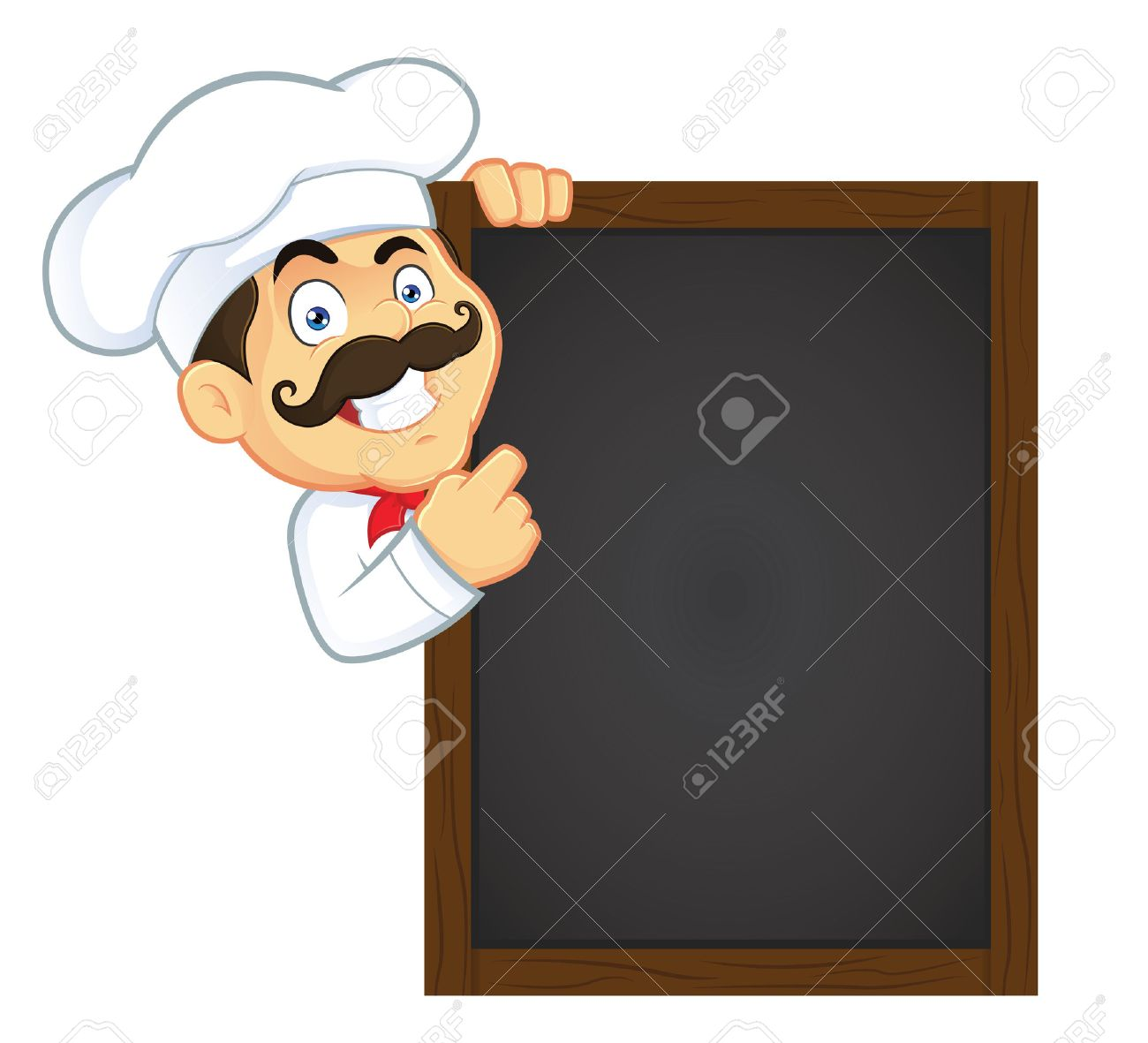 chef holding wooden menu board royalty free cliparts, vectors, and