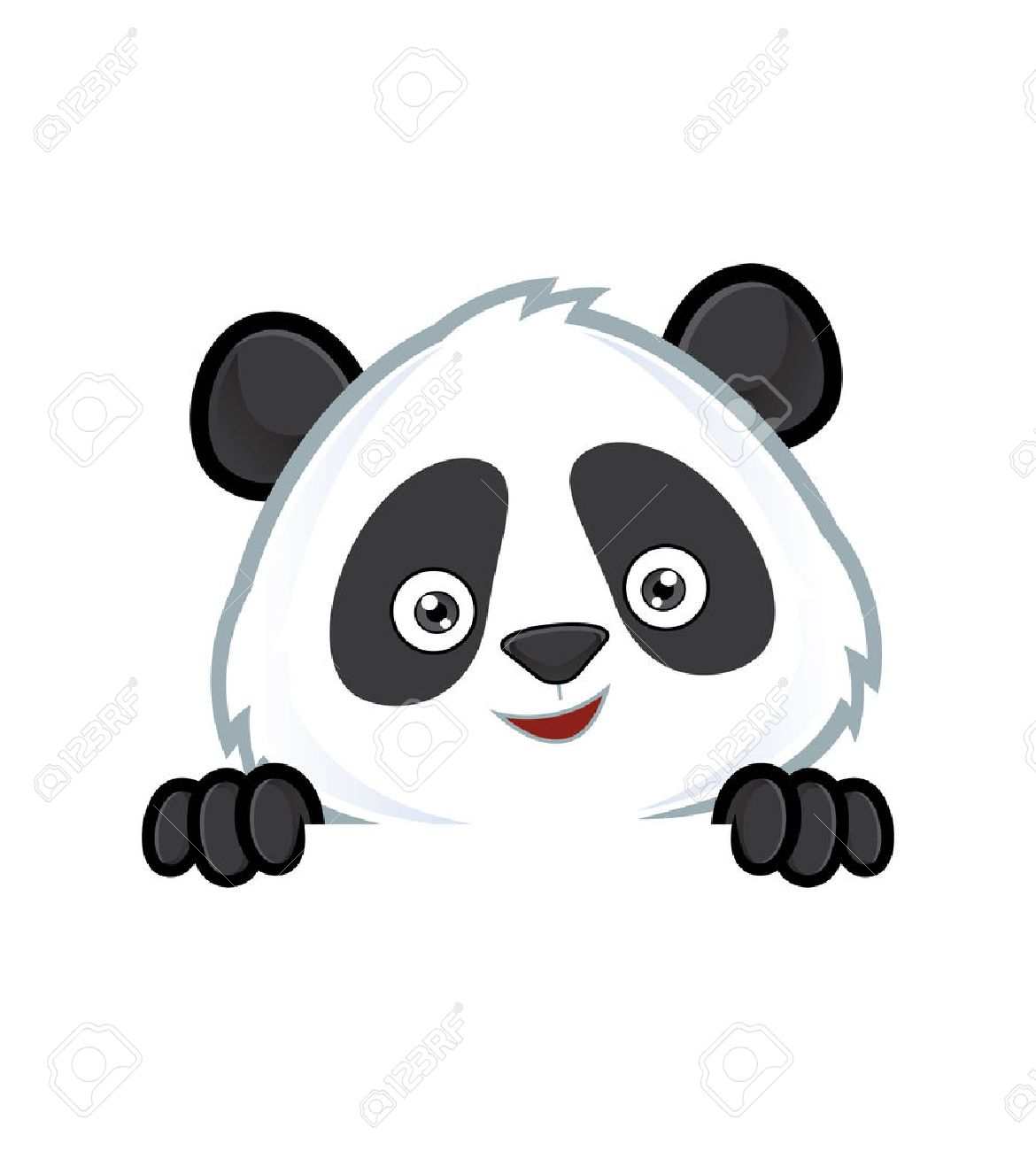 Panda holding and looking over a blank sign board - 35192153