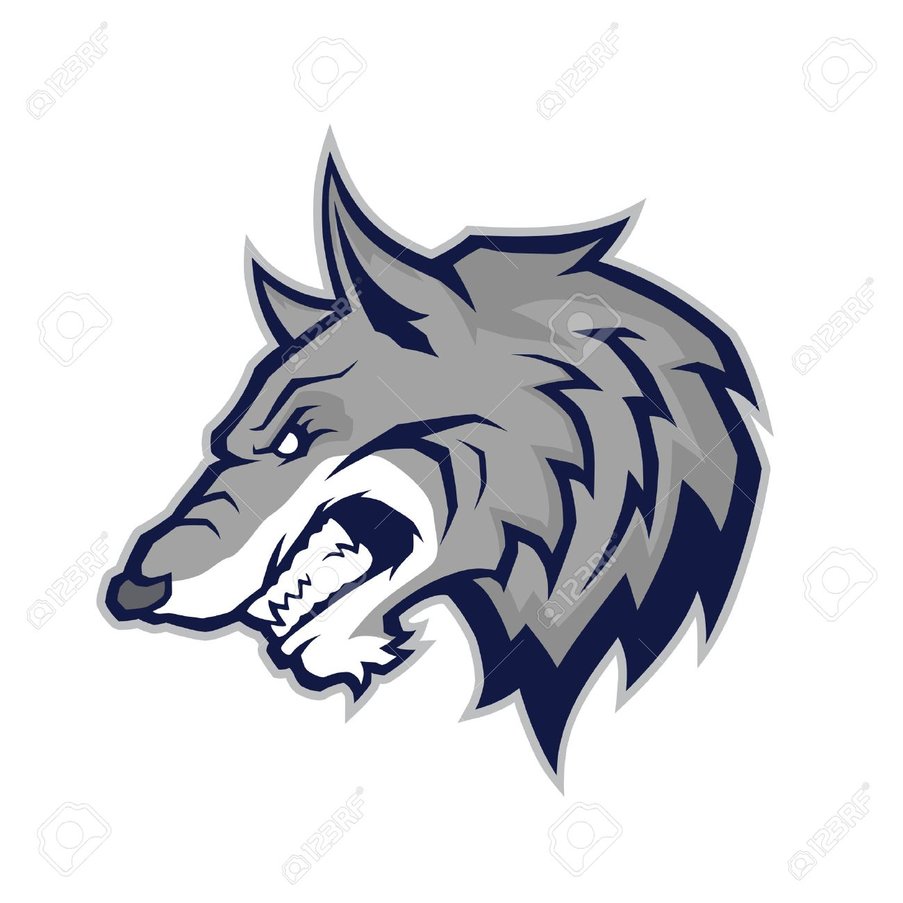 wolf head mascot royalty free cliparts vectors and stock rh 123rf com wolf head coloring pictures wolf head emblem