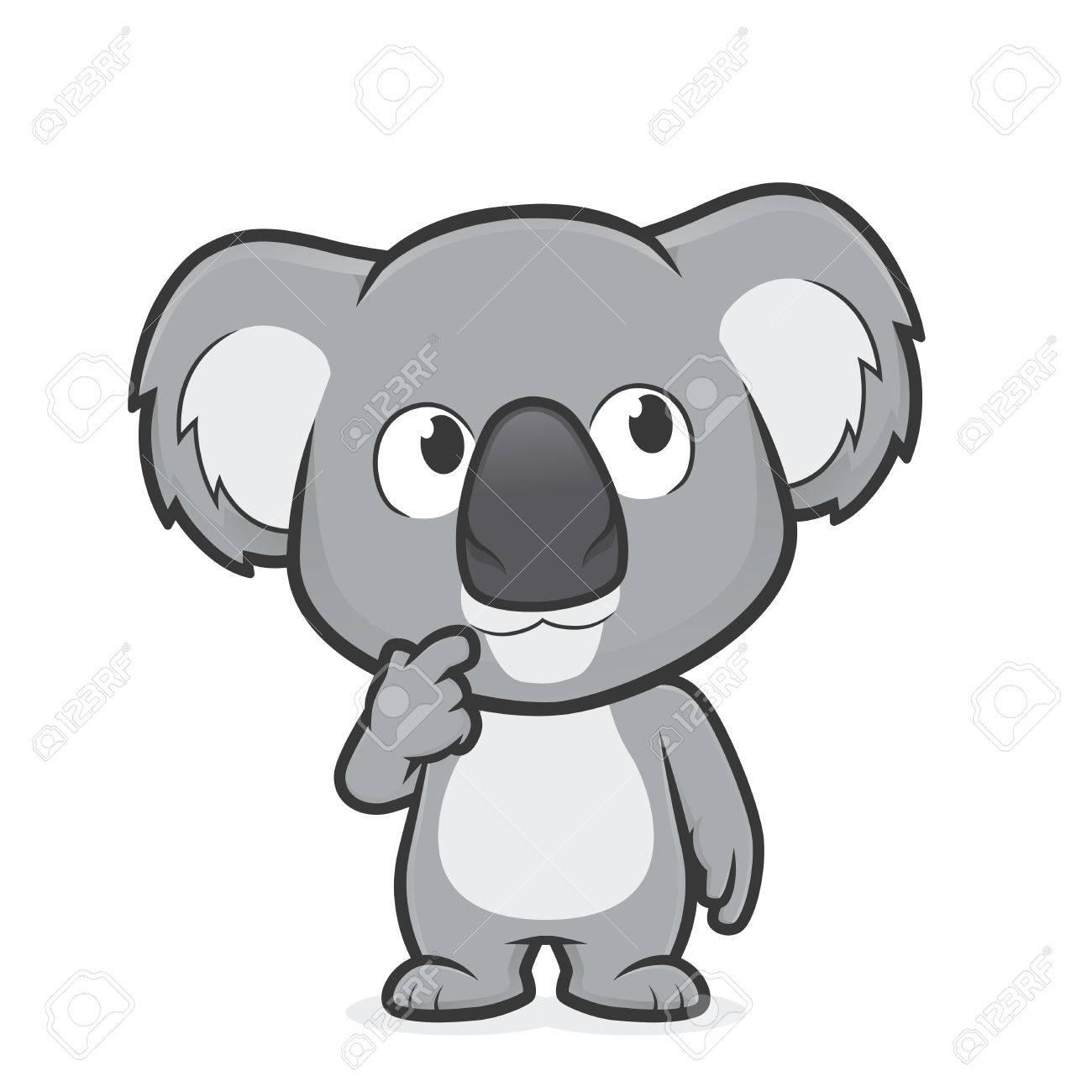 Illustration De Dessin Anime De Koala Dans Le Geste De La Pensee