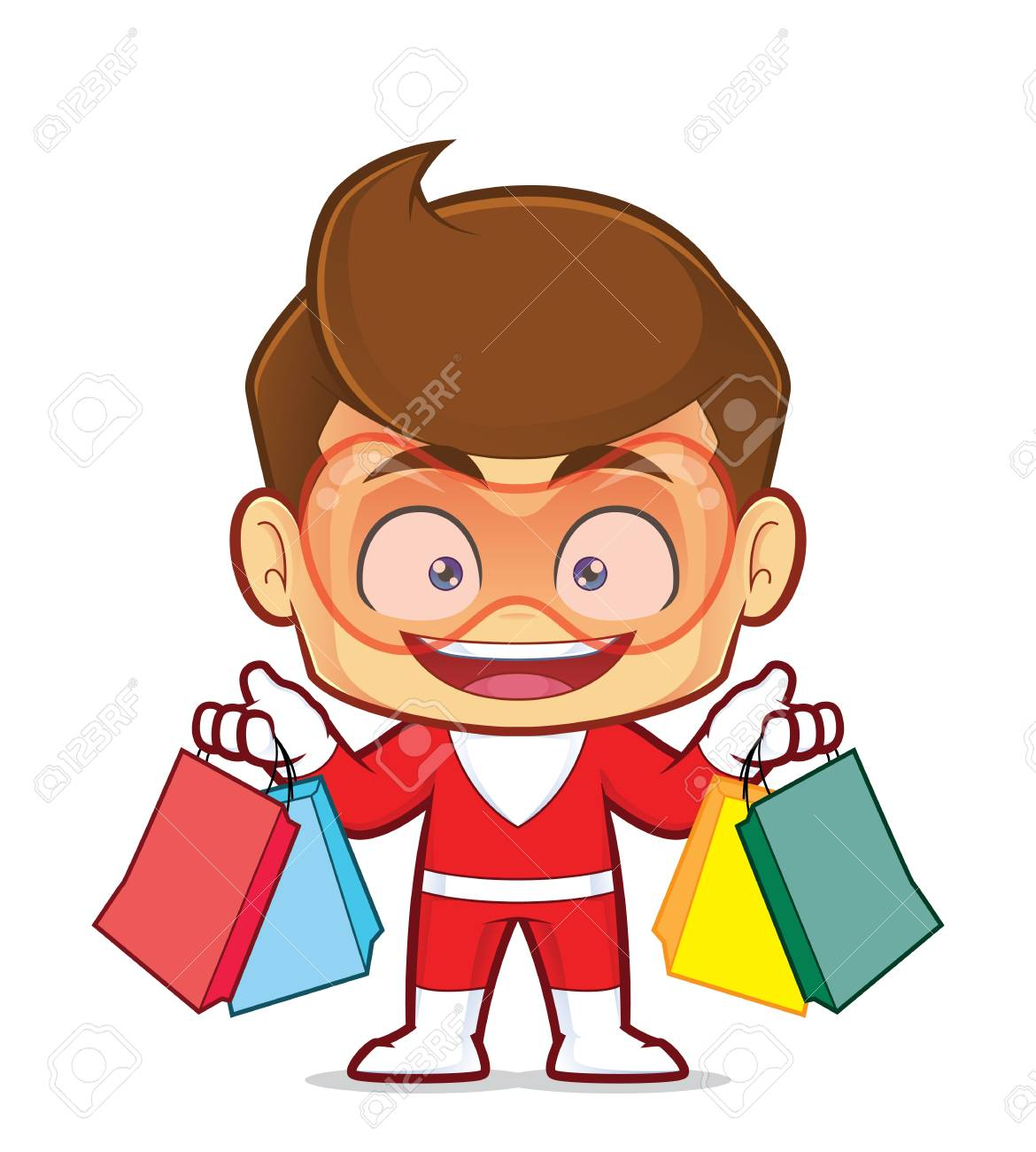 Clipart picture of a superhero cartoon character holding shopping bags - 95378910