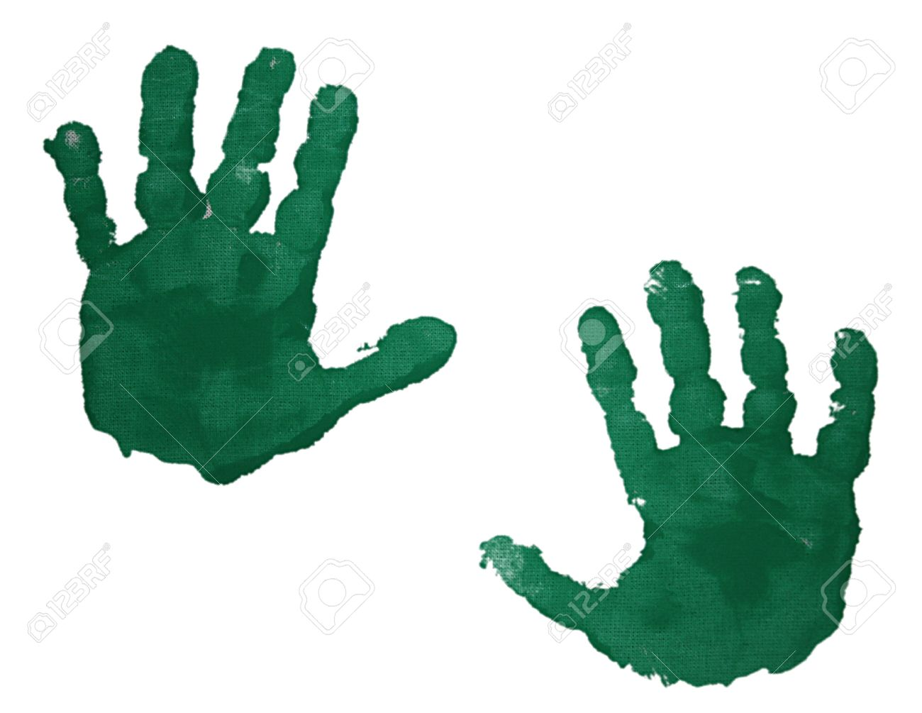 green handprint in paint of two children s hands isolated on