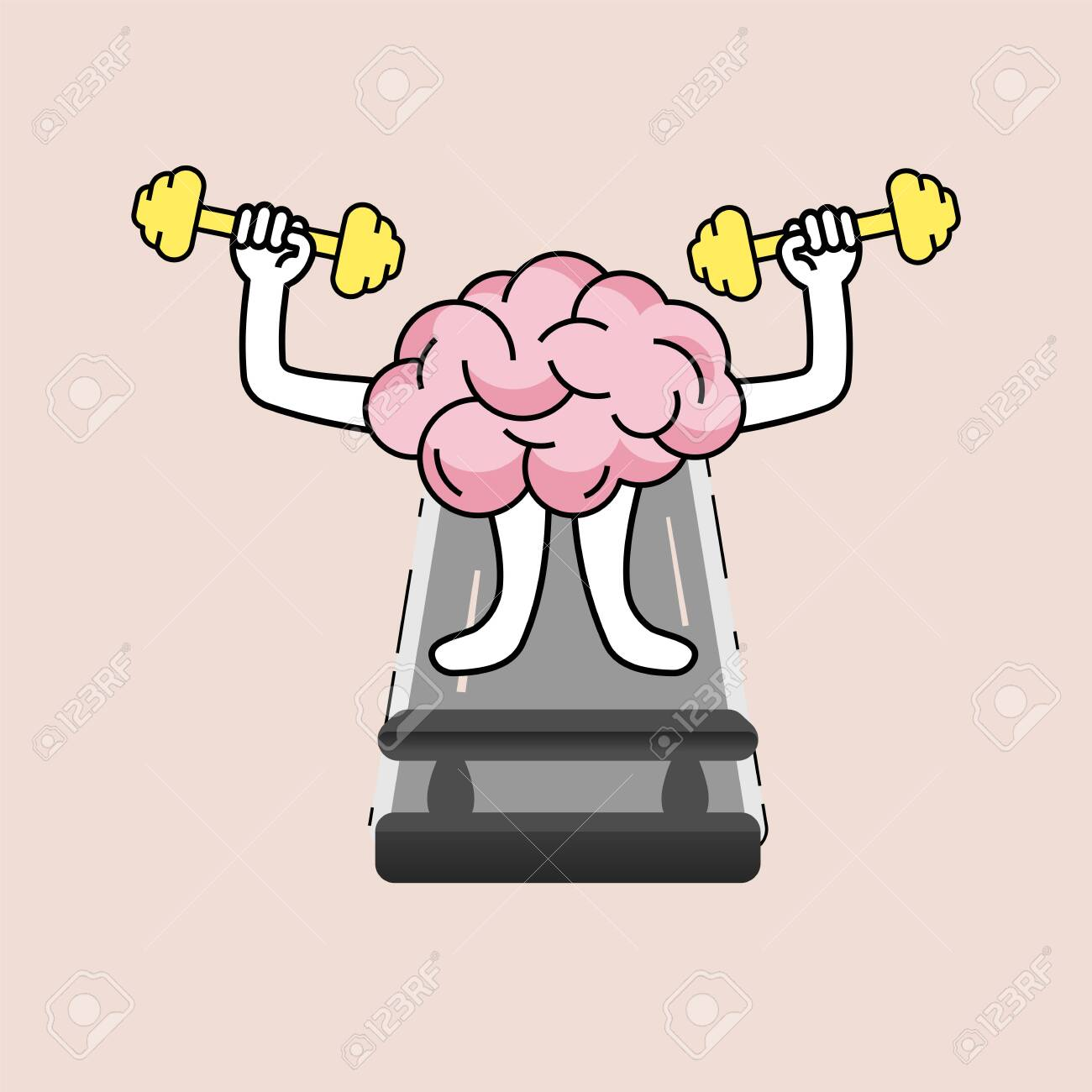 brain cartoon lifting dumbell and walking on treadmill developing royalty free cliparts vectors and stock illustration image 152039441 123rf com