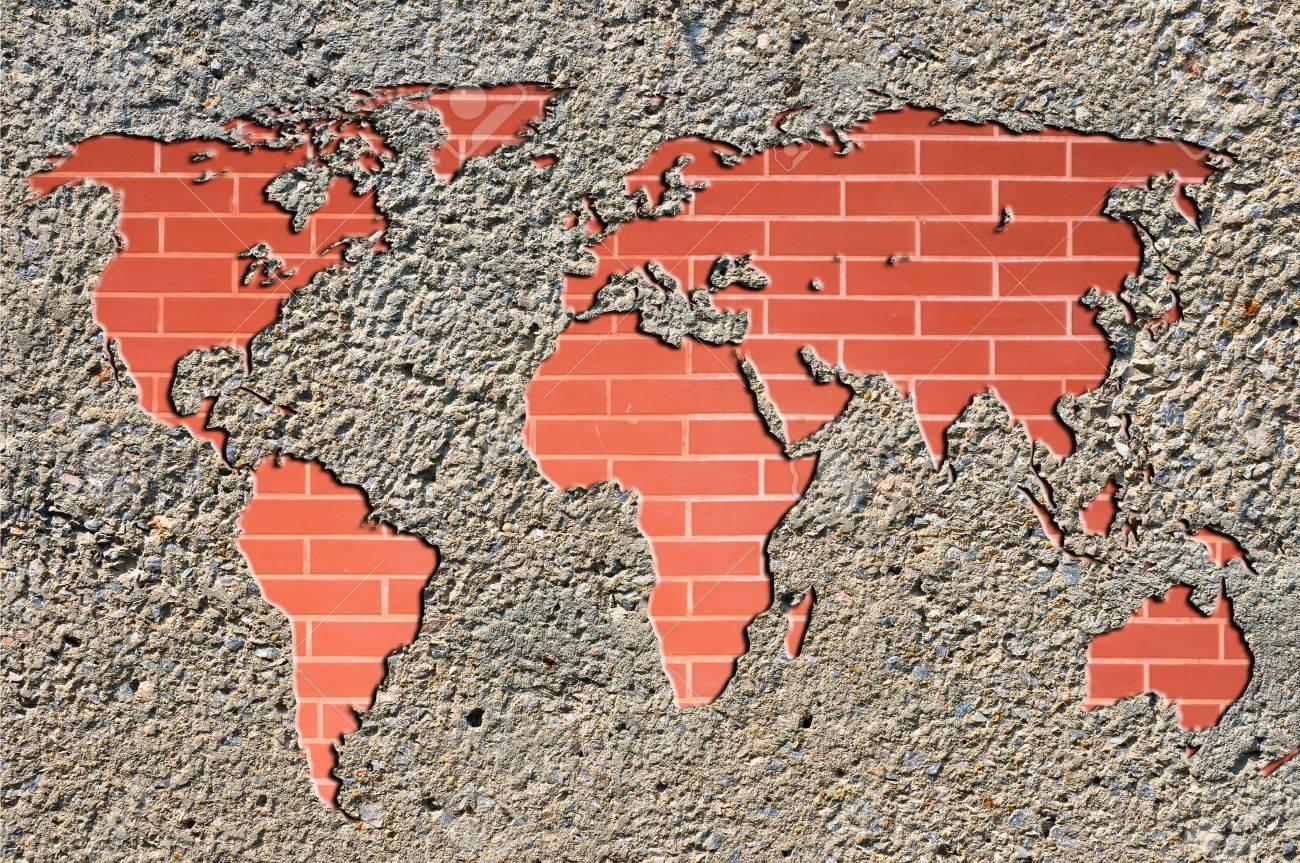 world map on brick wall Stock Photo - 9565928