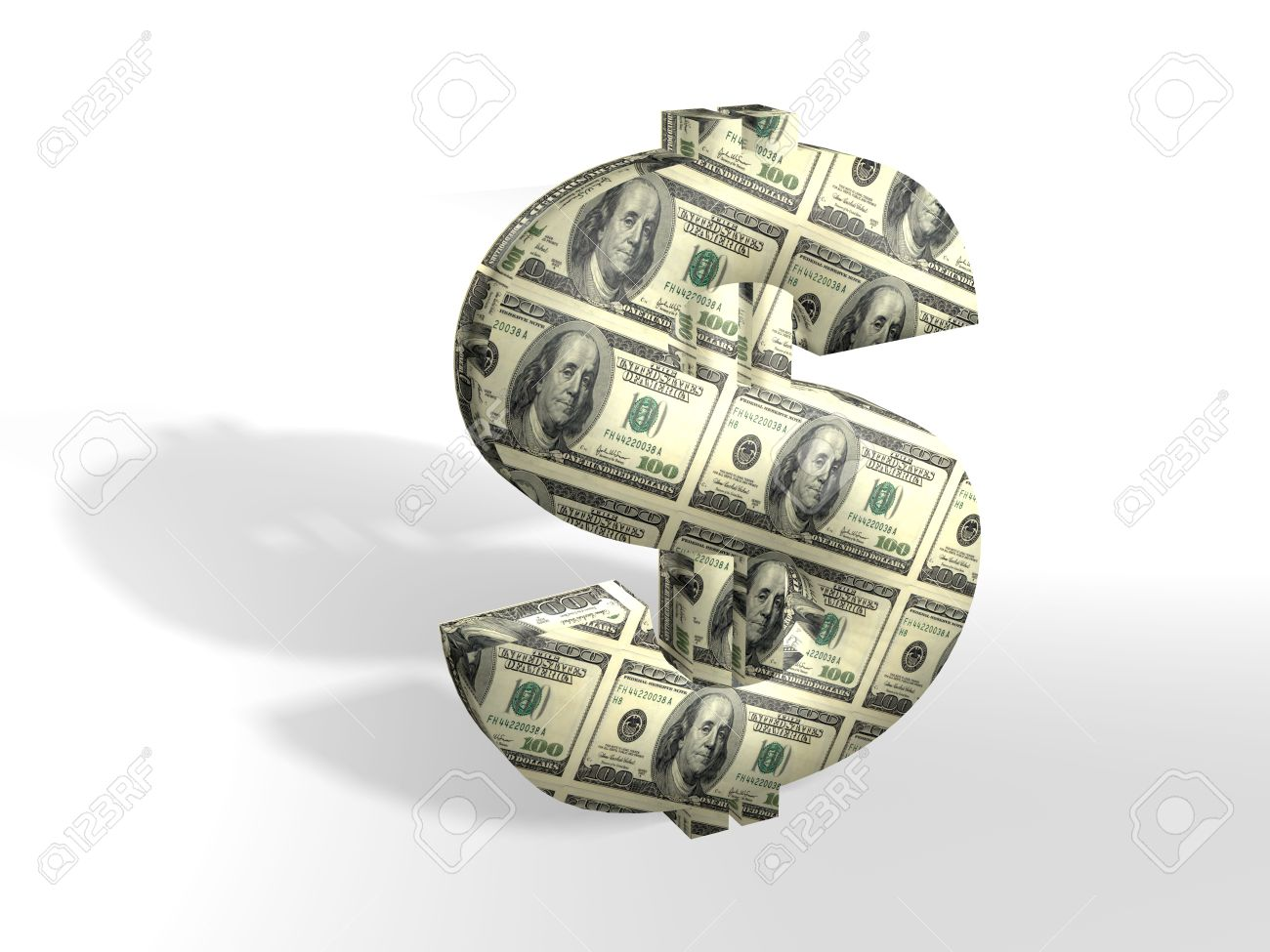 3D dollar sign painted into dollars note Stock Photo - 1755950