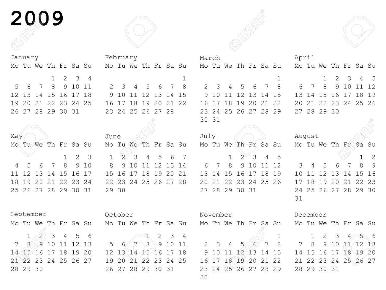 horizontal oriented calendar grid of 2009 year. Monday is first day of week Stock Vector - 3468044
