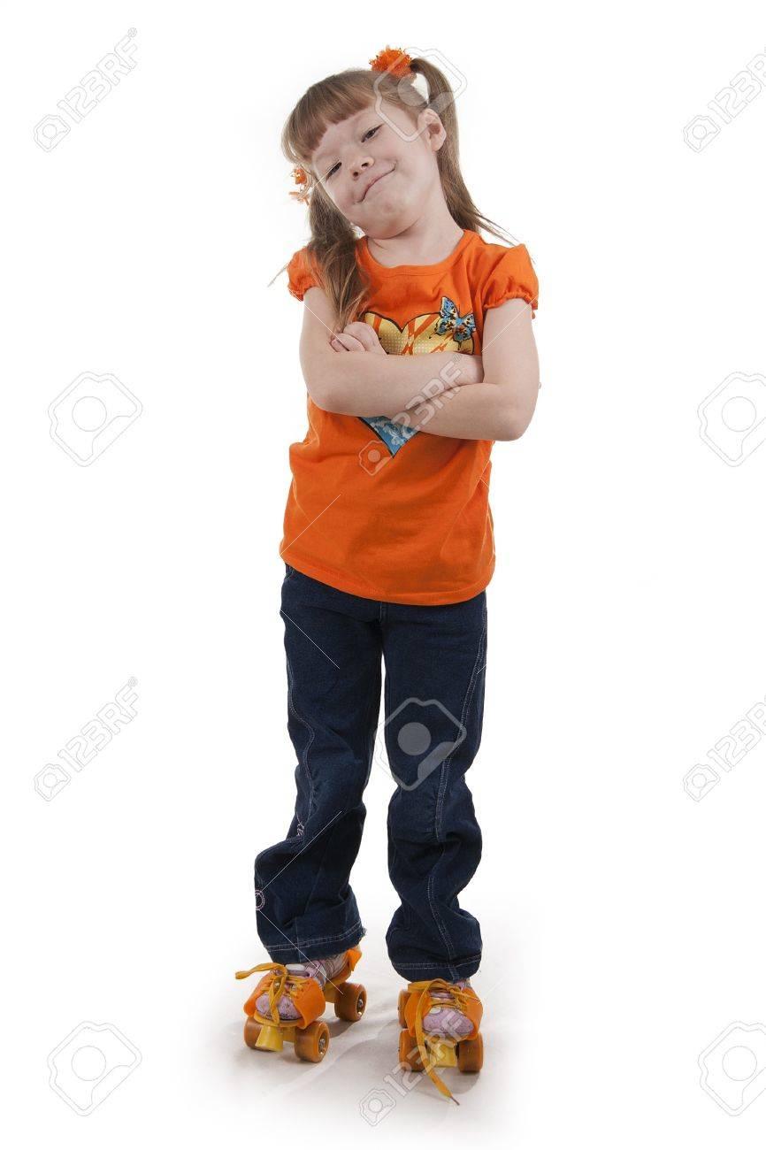 The little girl on roller skates.  Isolated white Stock Photo - 8815269