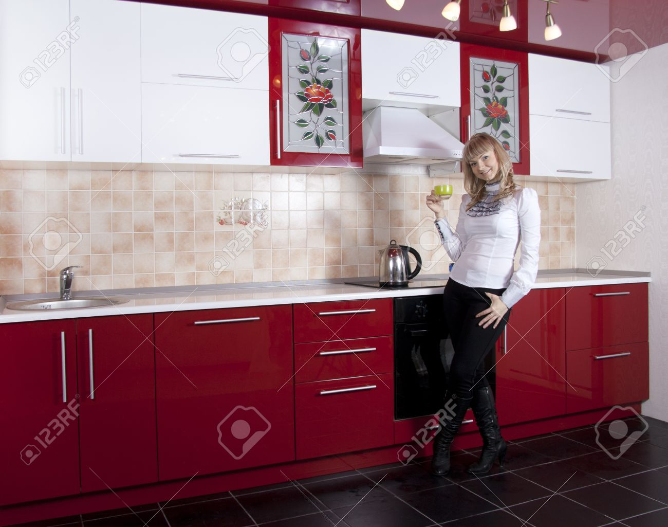 Red White Kitchen Young Woman To Kitchen In Red White Color Stock Photo Picture And