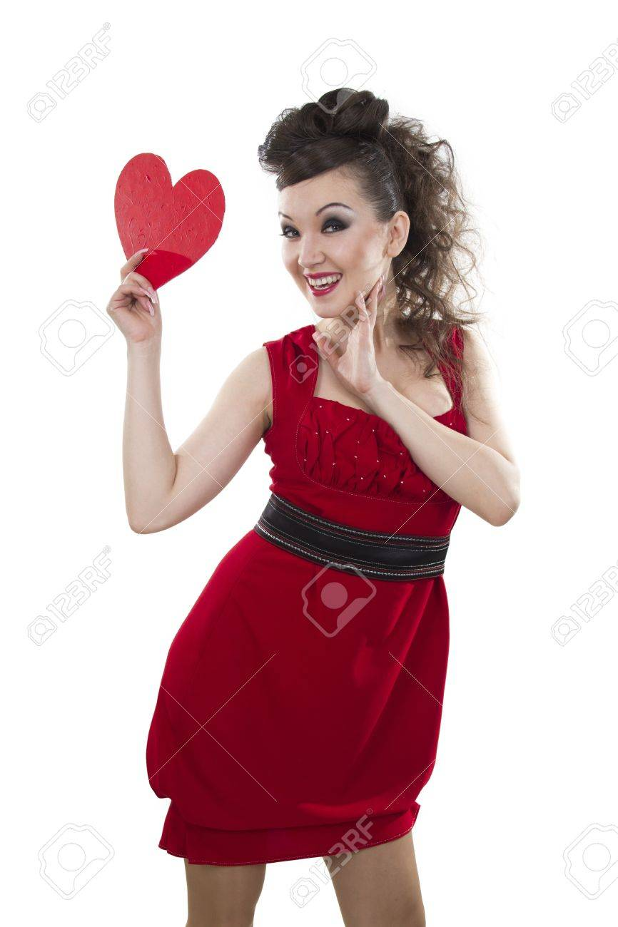 Beautiful Asian Women In A Red Dress Shows The Heart Form A