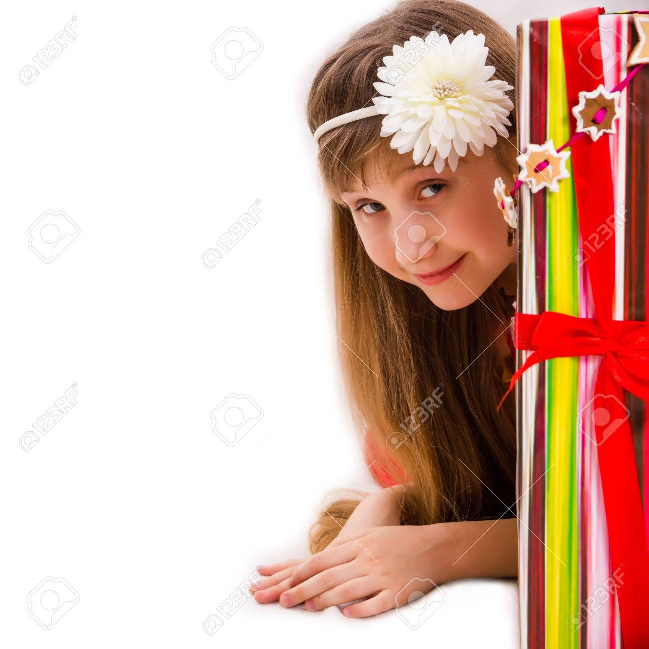 Weihnachtsgeschenke Und Kleine Mädchen Weihnachts Lizenzfreie Fotos ...
