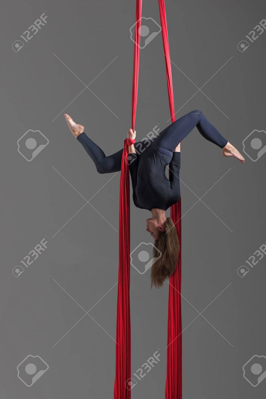 Sporty Woman Doing Exercise With Elastics, Aerial Silk Ribbons ...