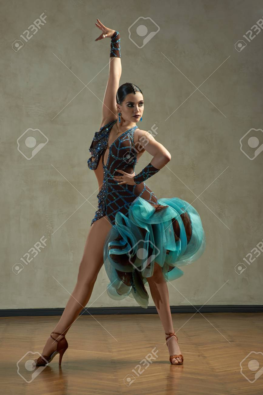 Attractive Woman Dancing Ballroom Dance In Studio In Gorgeous Sexy Latin  Costume Stock Photo   90498954