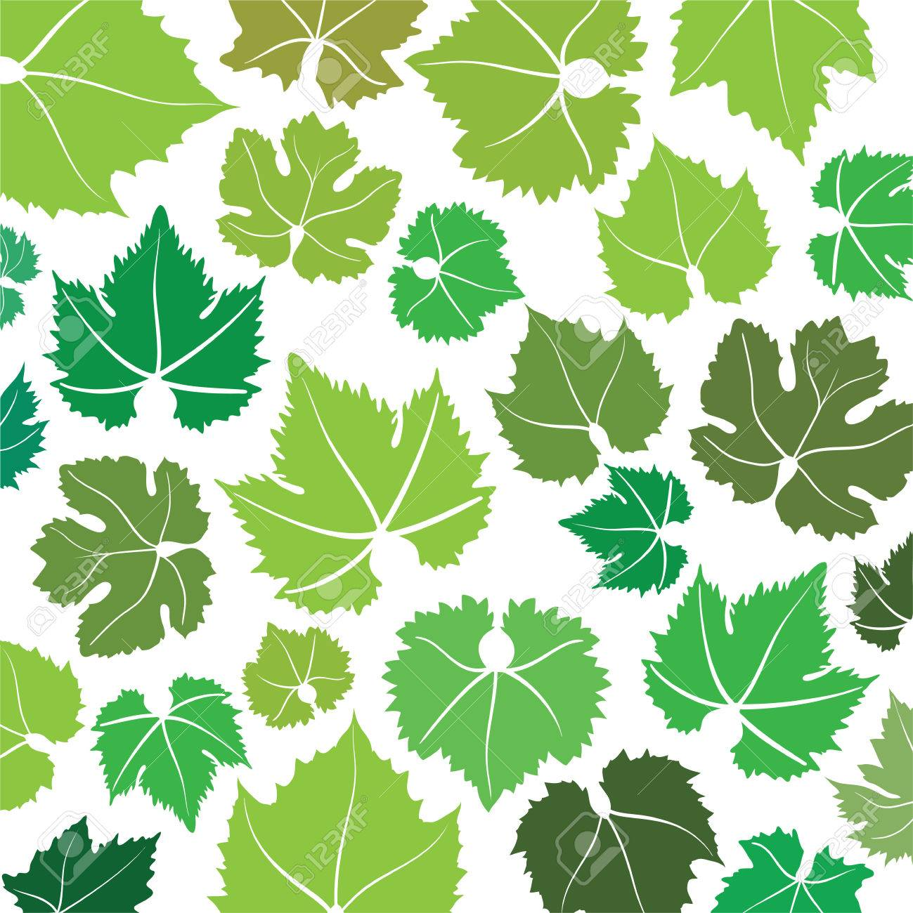 Vector Pattern With Hand Drawn Wine Grape Leaves Royalty Free