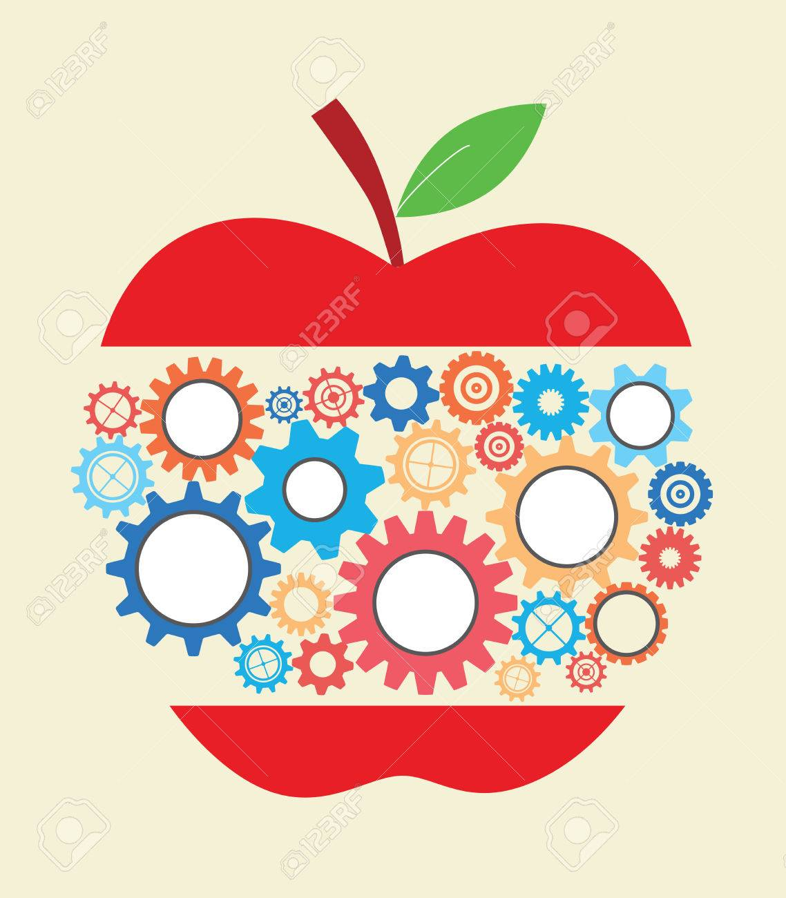 concept of business idea and education with colourful gears template