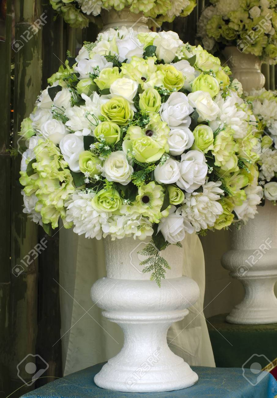 A White And Green Artifact Flowers Made By Cloth And Plastic Stock