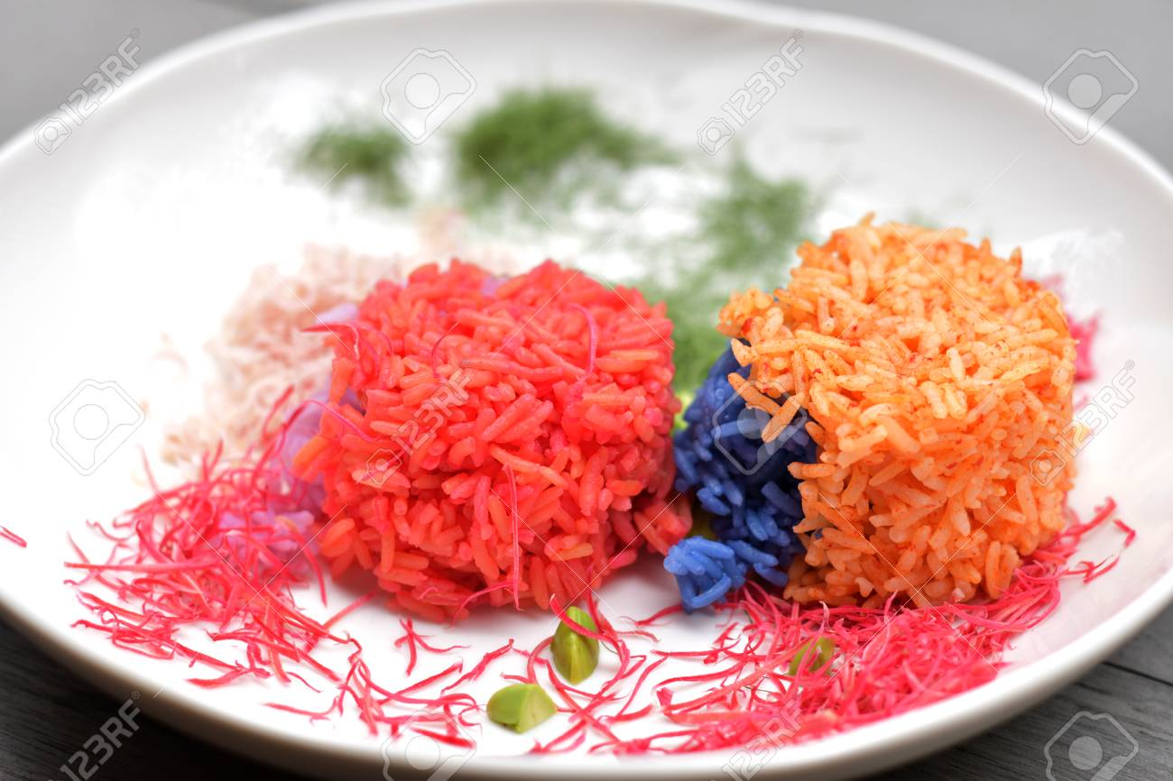 Colorful Cooked Rice That Coloring By Plant Pigment, Colorful ...