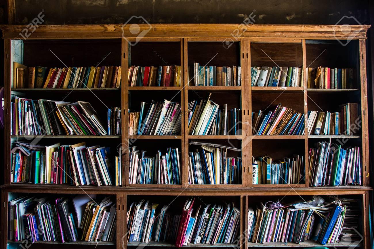 Retro Bookshelf Stock Photo