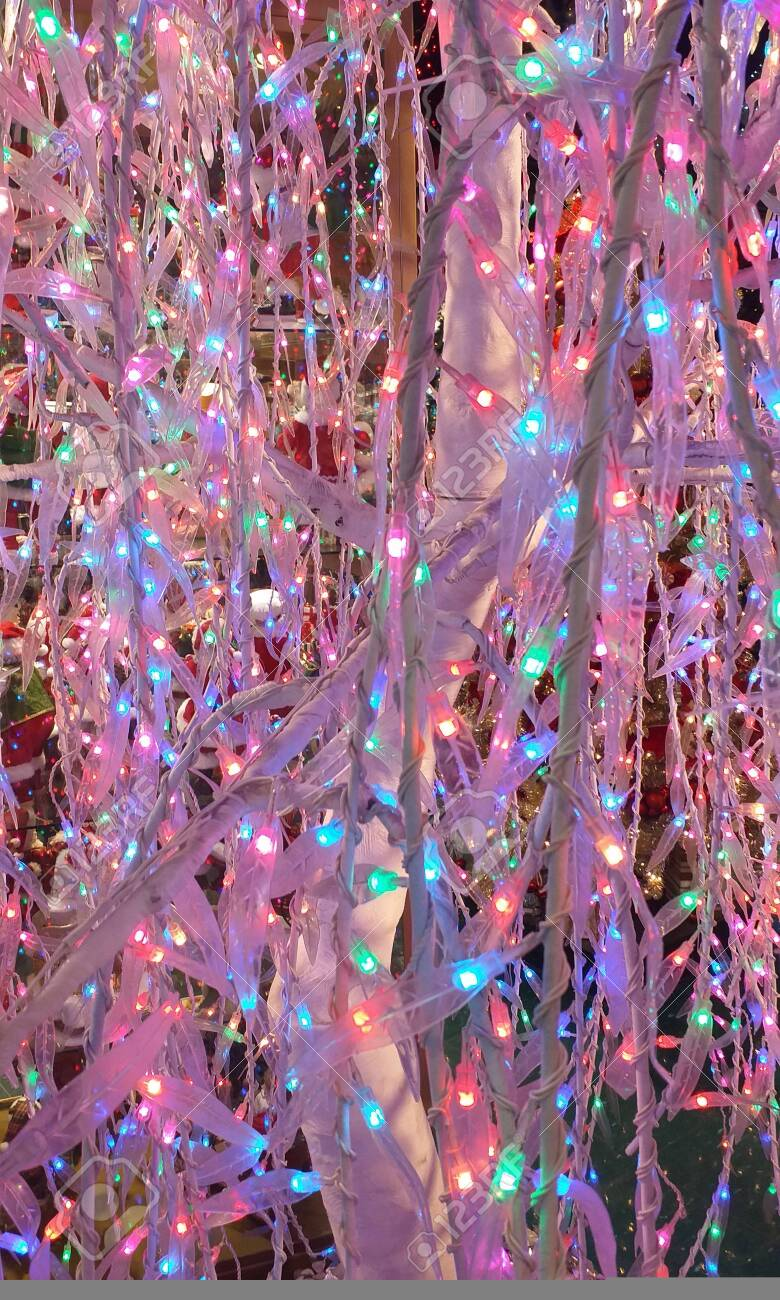 Christmas Garland Lights From Led Pink Stick And Light Blue Stock Photo Picture And Royalty Free Image Image 133474330