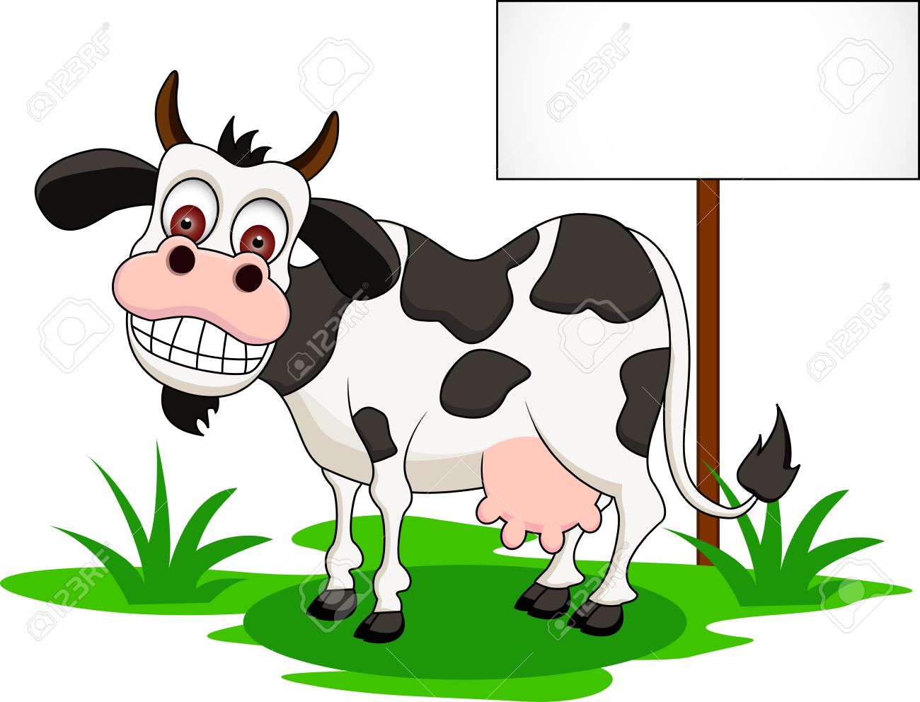 cute cow cartoon with blank sign Stock Vector - 14392245