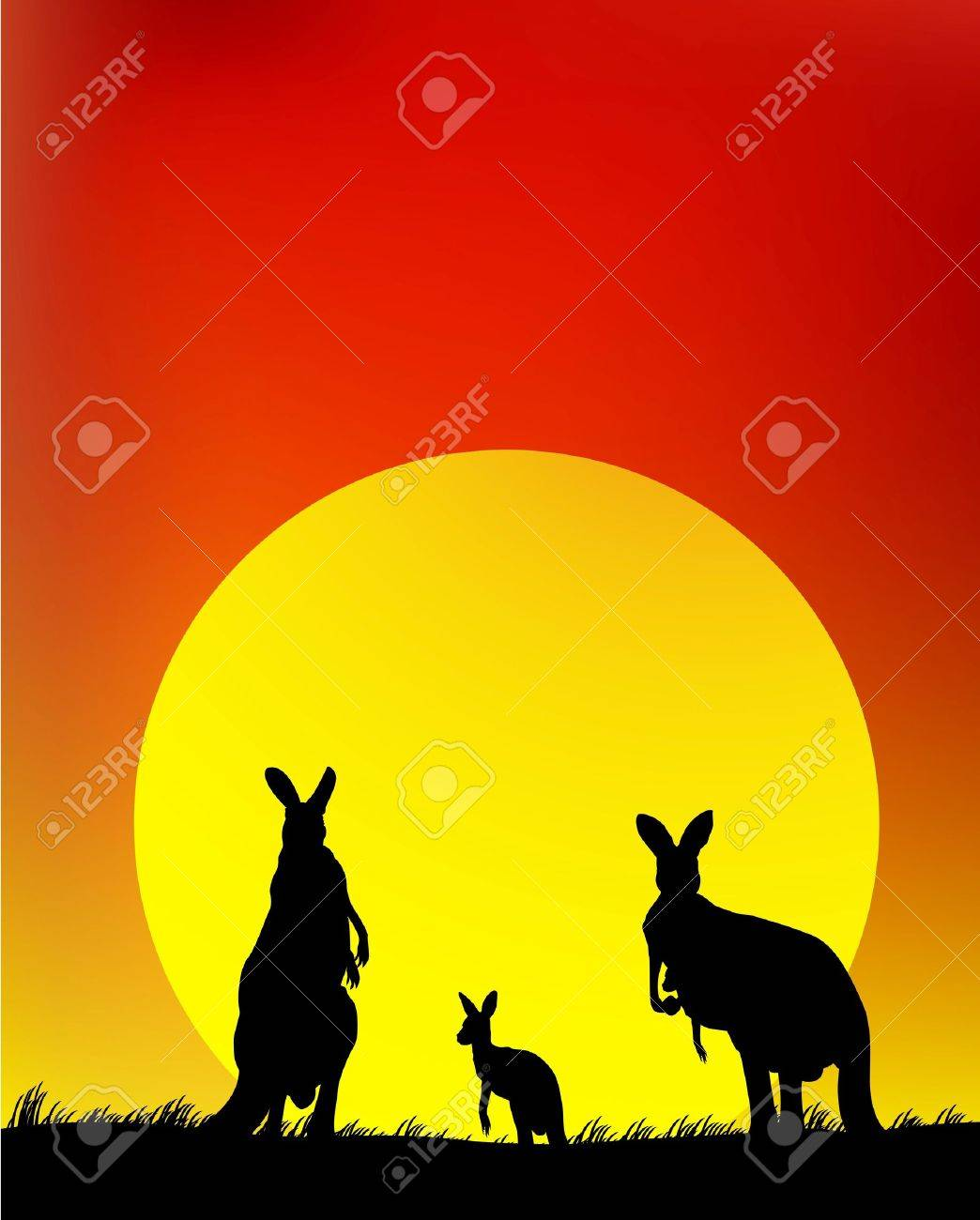 silhouette of the kangaroo family Stock Vector - 14392237