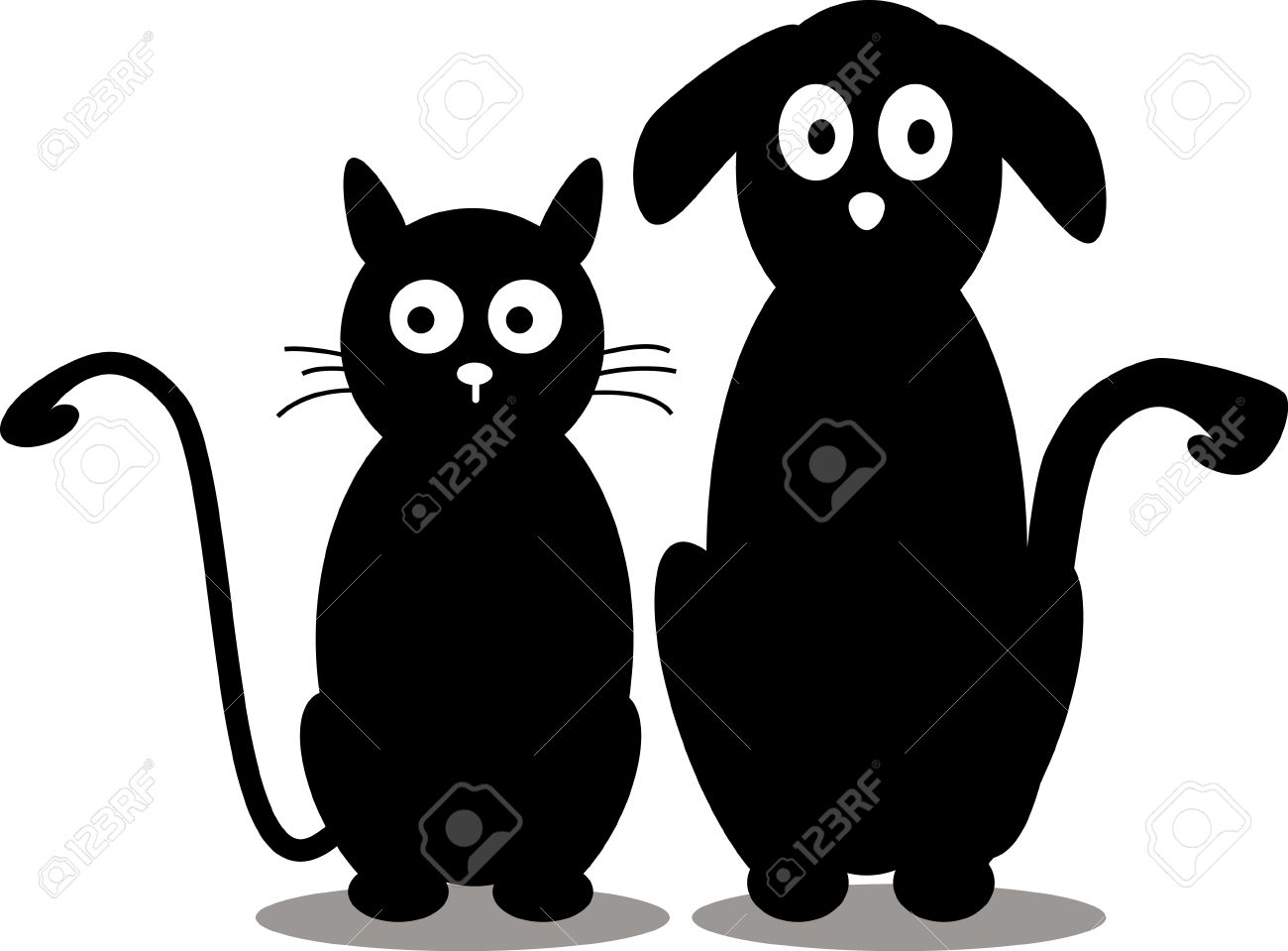 beauty cat and dog silhouette Stock Vector - 14474290