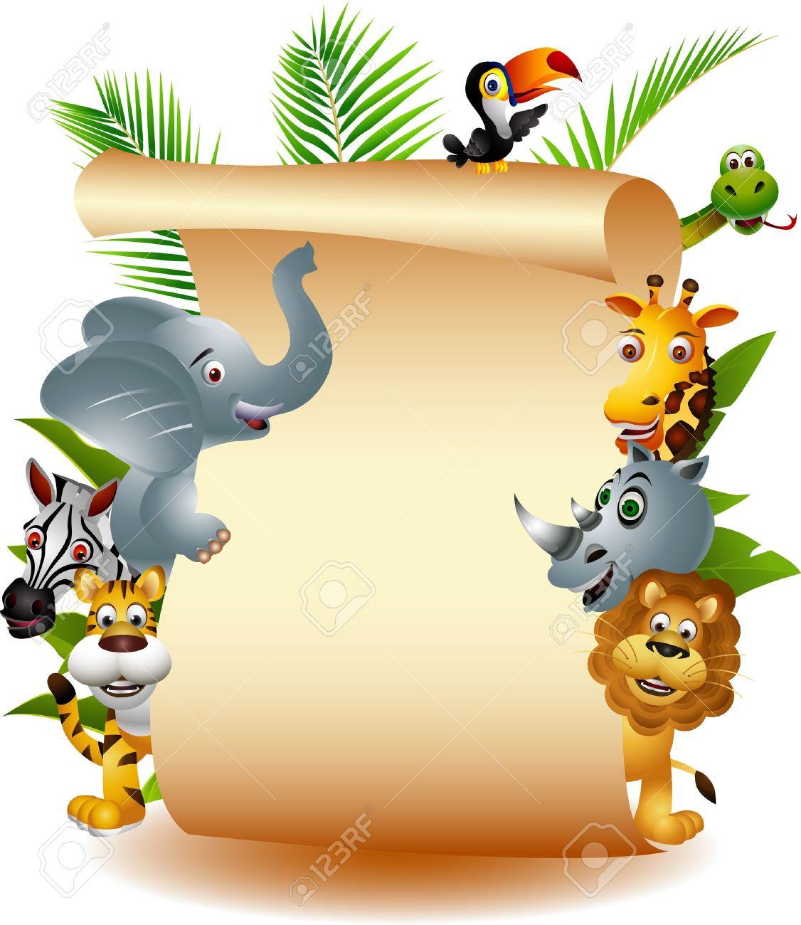 Wild African animal cartoon with blank sign Stock Vector - 14508806