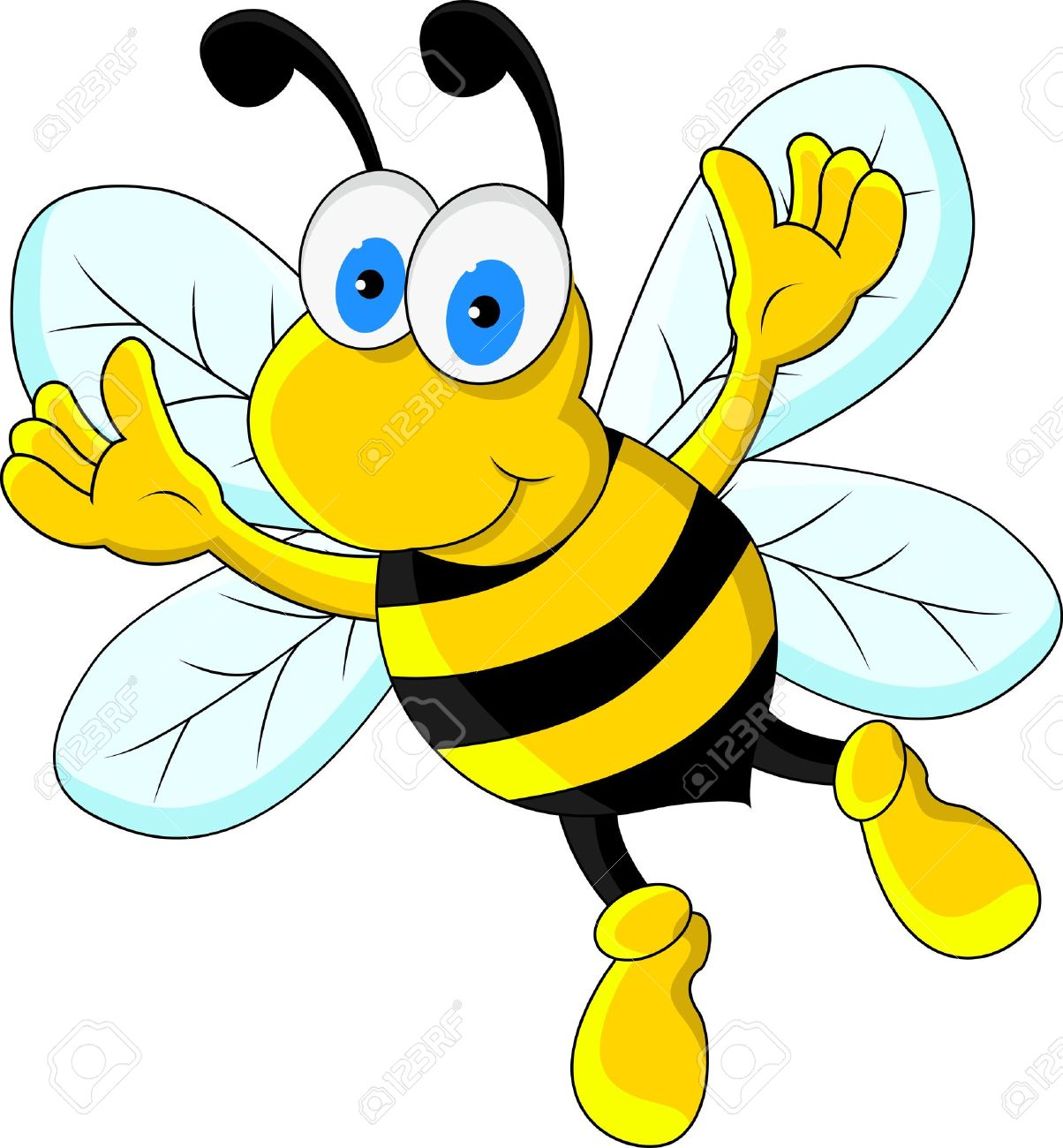 Bumble bee funny bee cartoon character