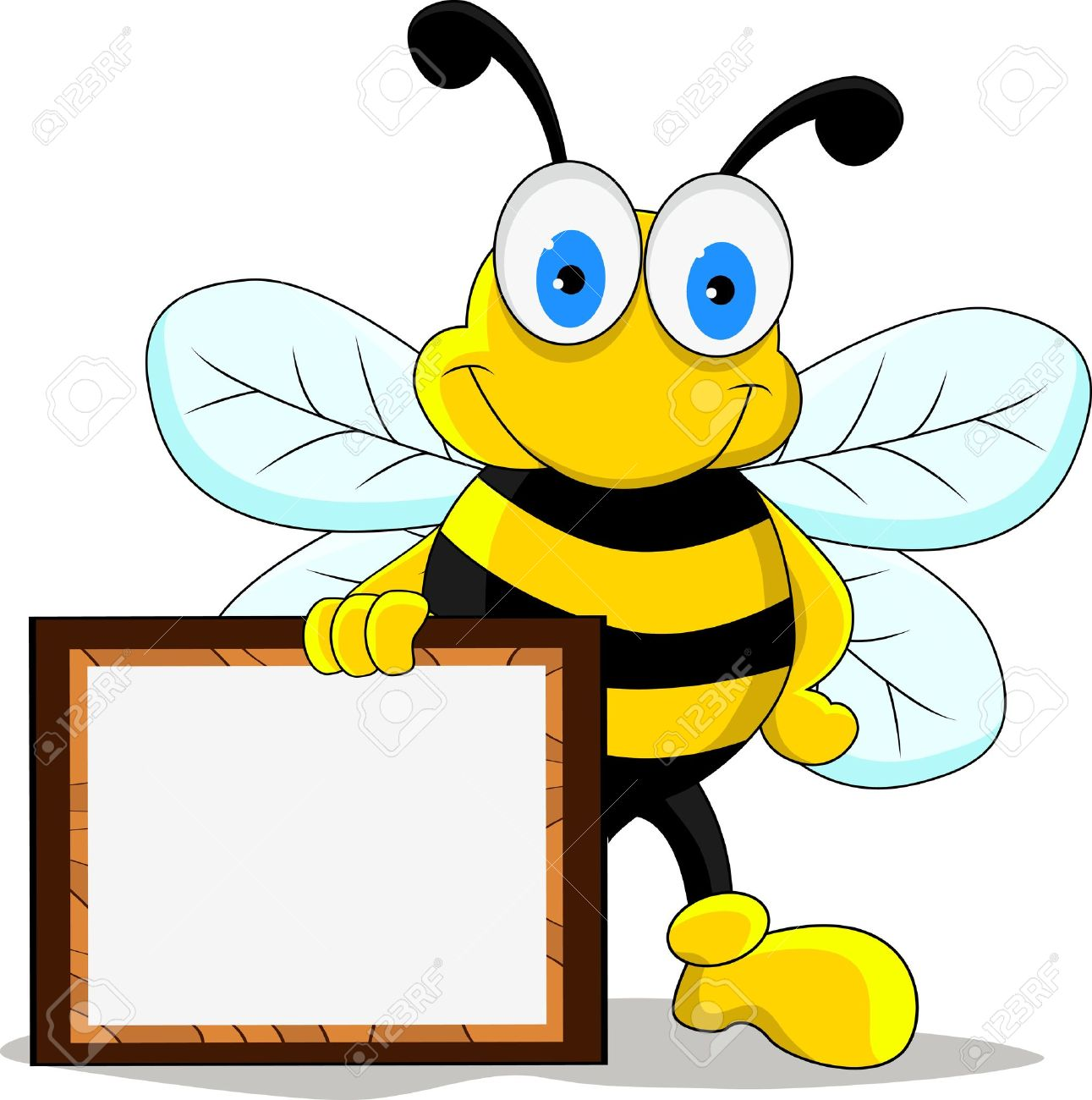 Funny bee cartoon character stock vector 14508848