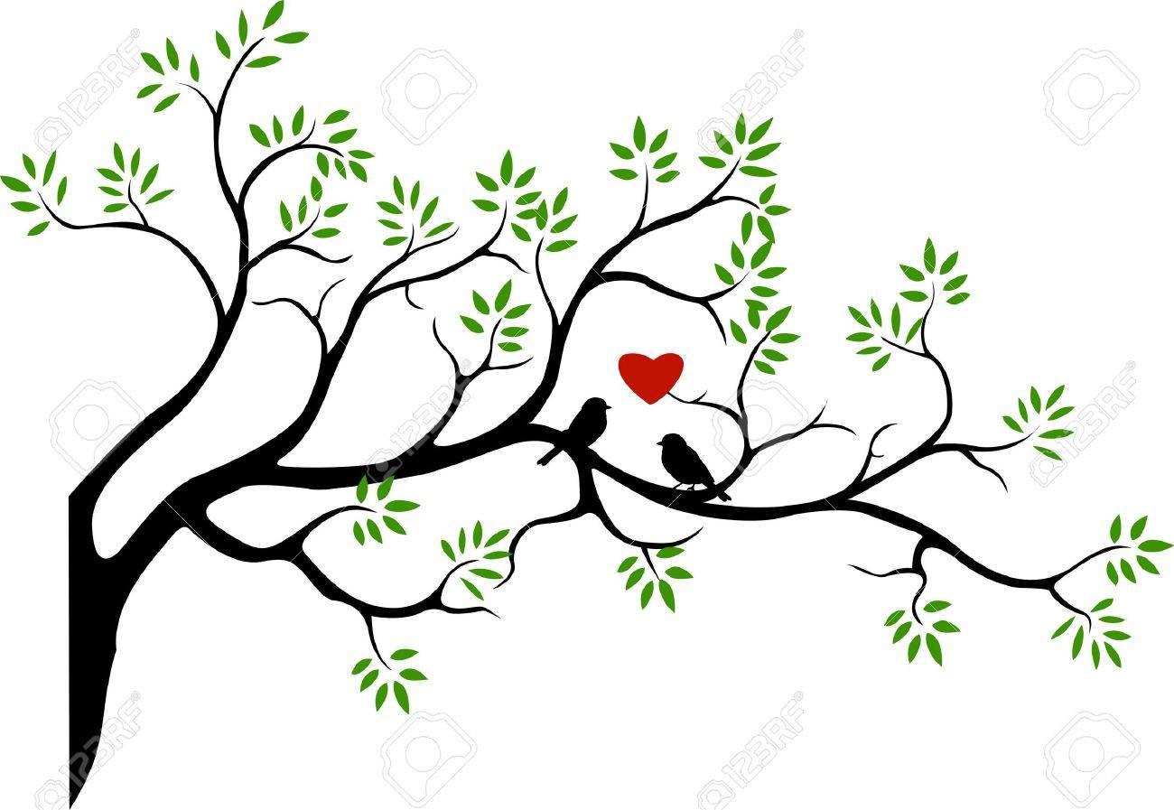 tree silhouette with bird love couple Stock Vector - 14591287