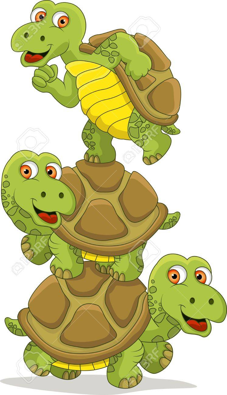 Funny Turtle Cartoon Teamwork Royalty Free Cliparts Vectors And