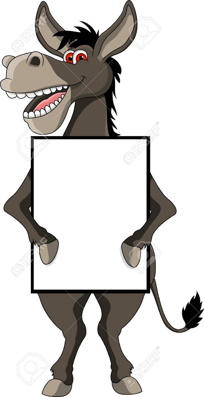 funny smiling donkey cartoon with blank sign Stock Vector - 14629588