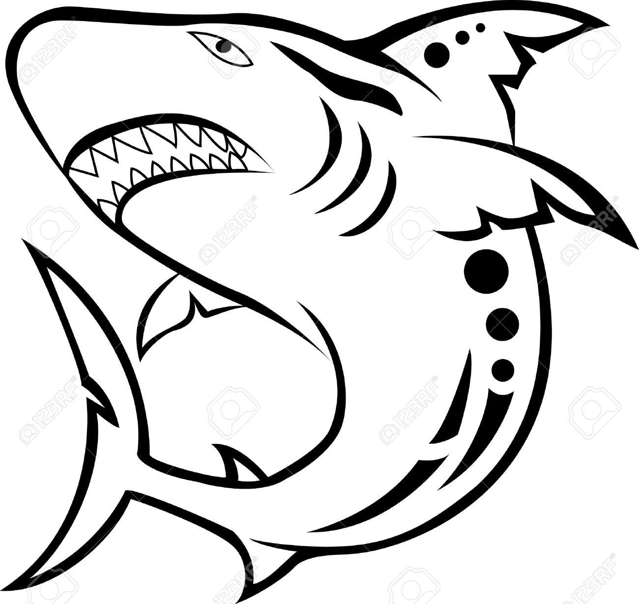 angry shark tribal tattoo Stock Vector - 15168139