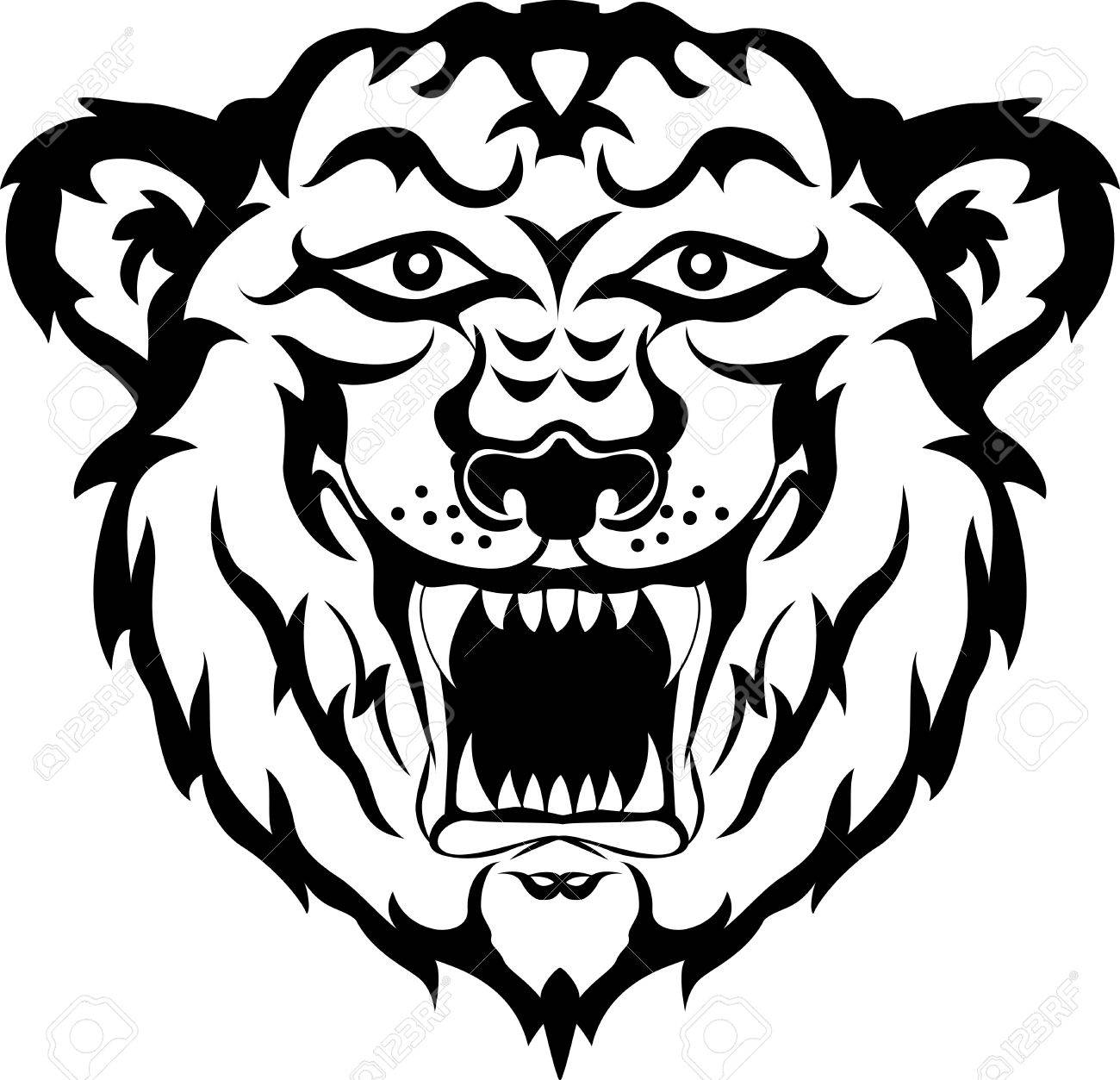 Tiger Head Black And White Tattoo Tribal