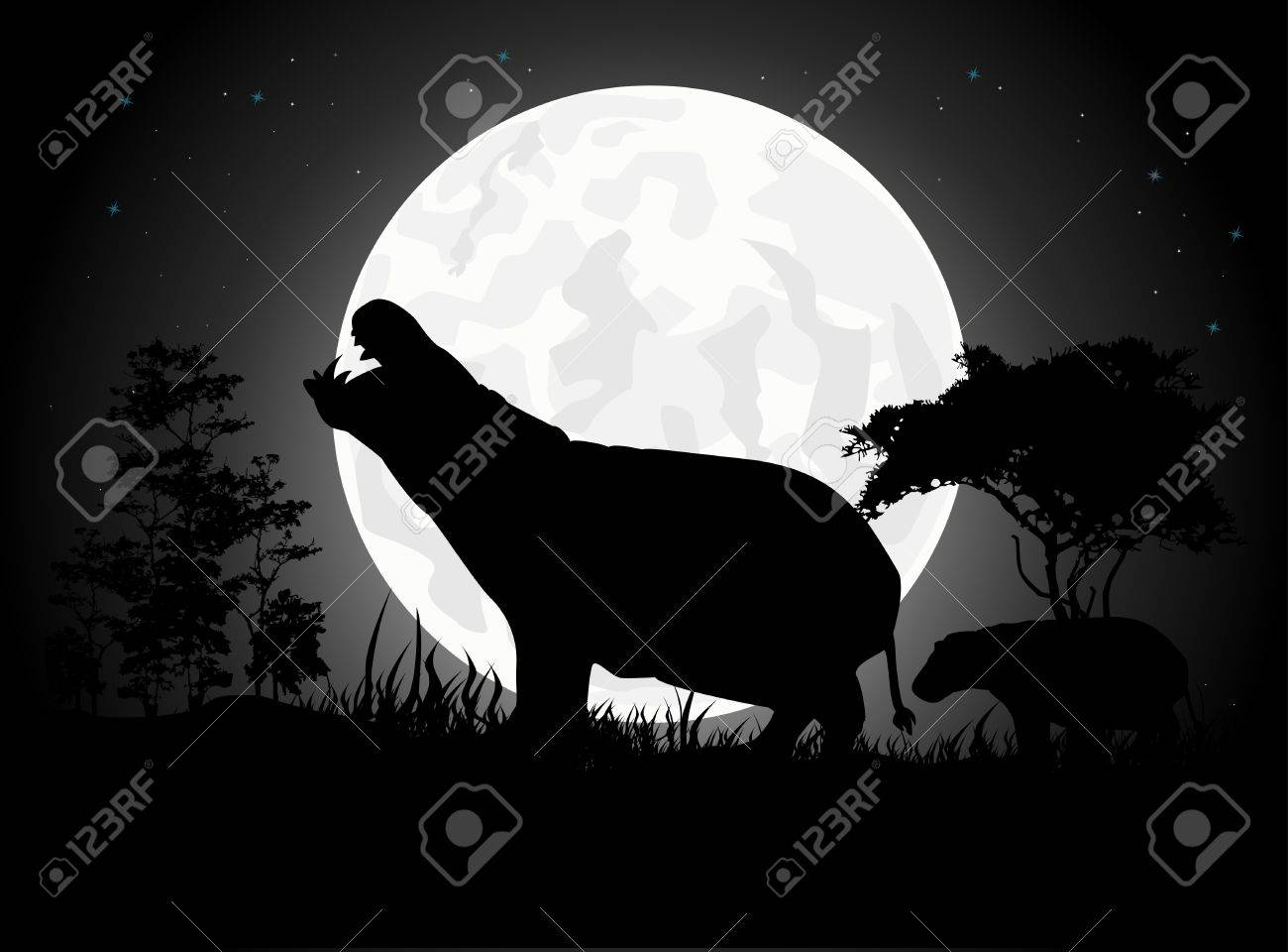 Beautiful Hippo silhouettes with giant moon background Stock Vector - 15359894
