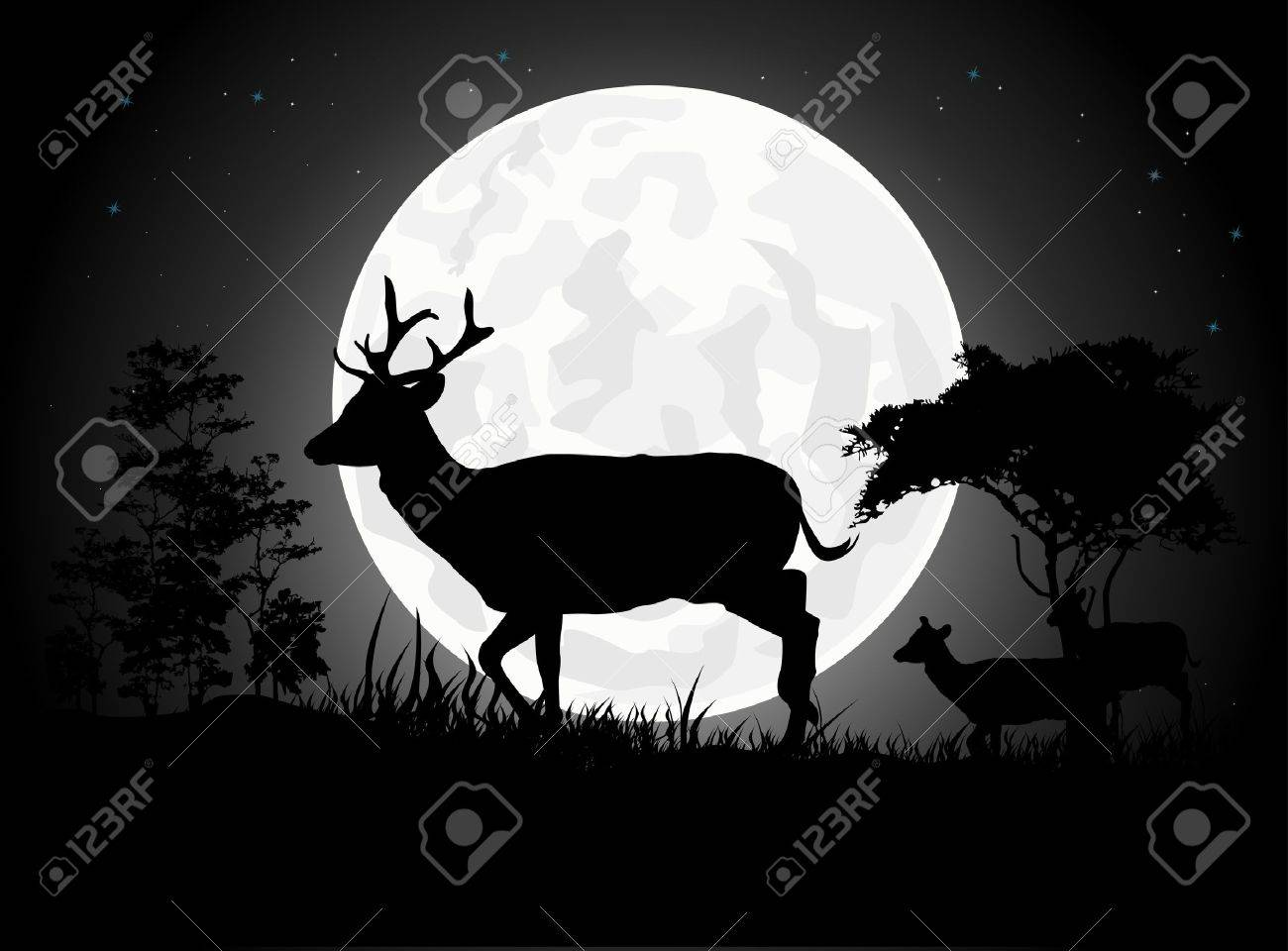 Beautiful Deer silhouettes with giant moon background Stock Vector - 15359902