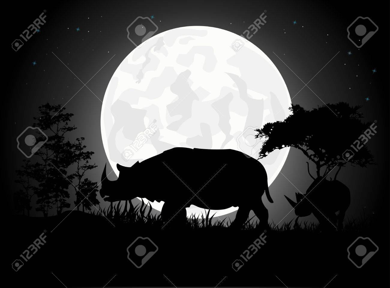 Beautiful Rhino silhouettes with giant moon background Stock Vector - 15359893