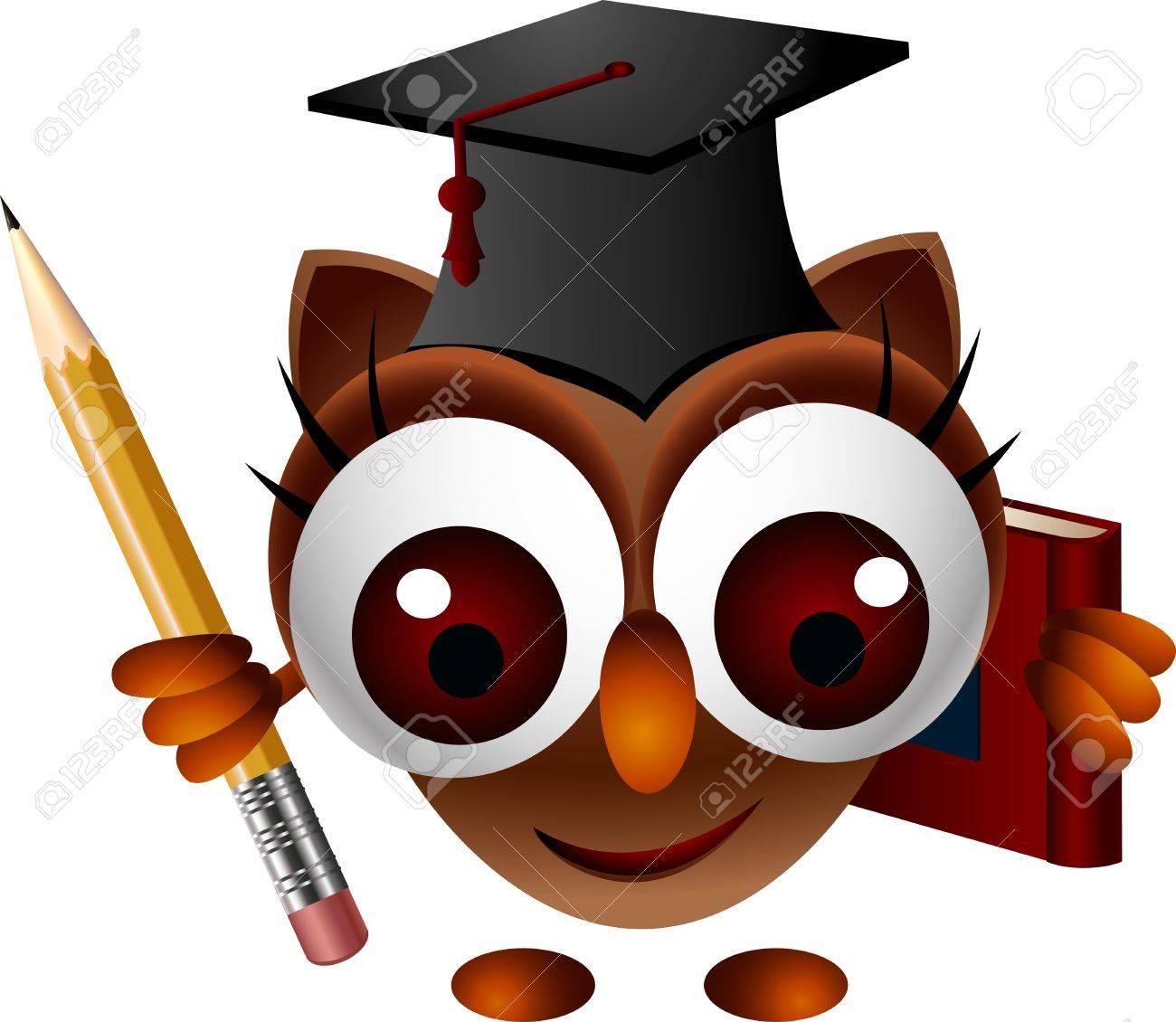 cute owl with pencil and book Stock Vector - 15377106