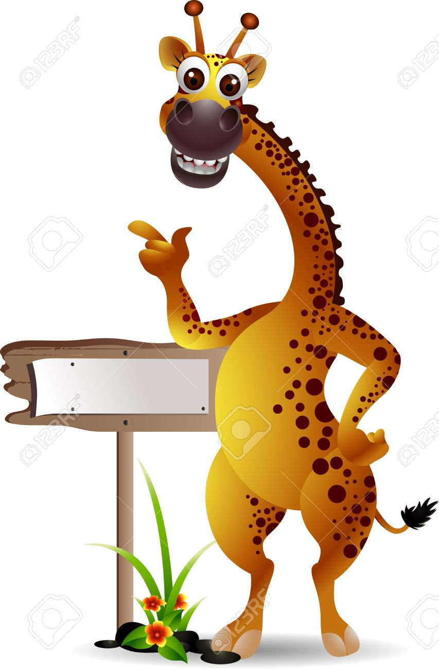 funny giraffe cartoon with blank board royalty free cliparts