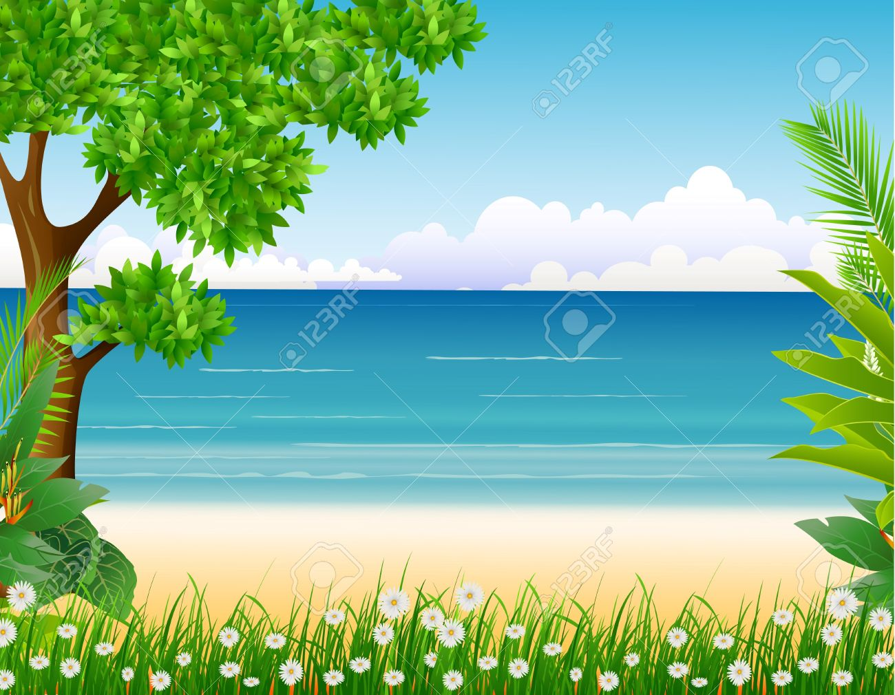 beauty tropical forest with beach background Stock Vector - 15937772