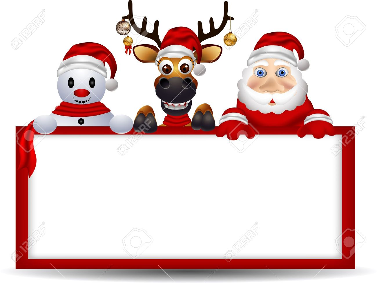cartoon santa claus deer and snowman with blank sign royalty free