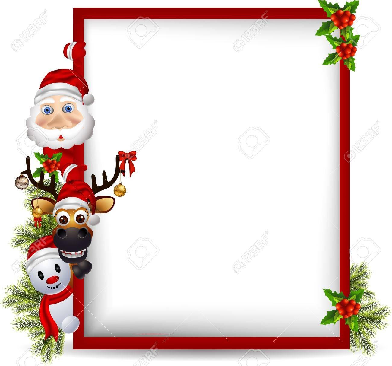 cartoon santa claus ,deer and snowman with blank sign Stock Vector - 15947430