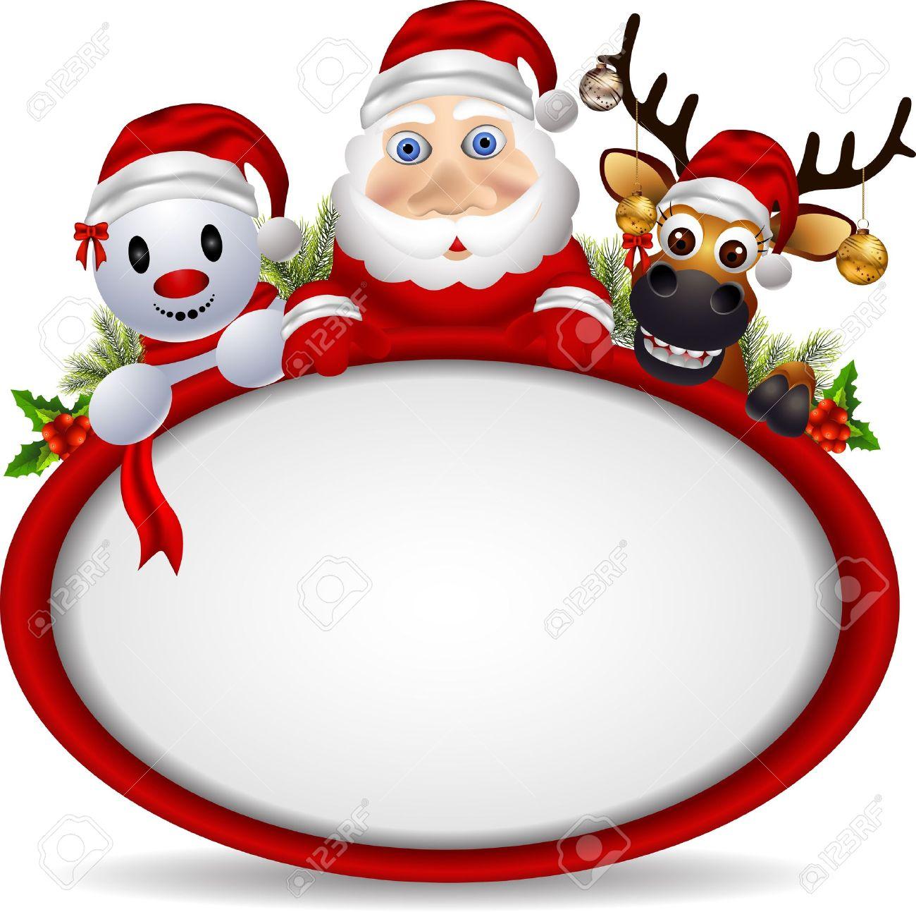 Imagenes De Papa Noel Animado.Dibujos Animados Papa Noel Ciervos Y Muneco De Nieve Con La Muestra En Blanco