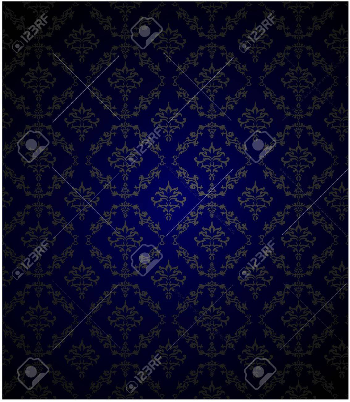 illustration of Seamless Damask wallpaper with blue color Stock Vector - 16077073