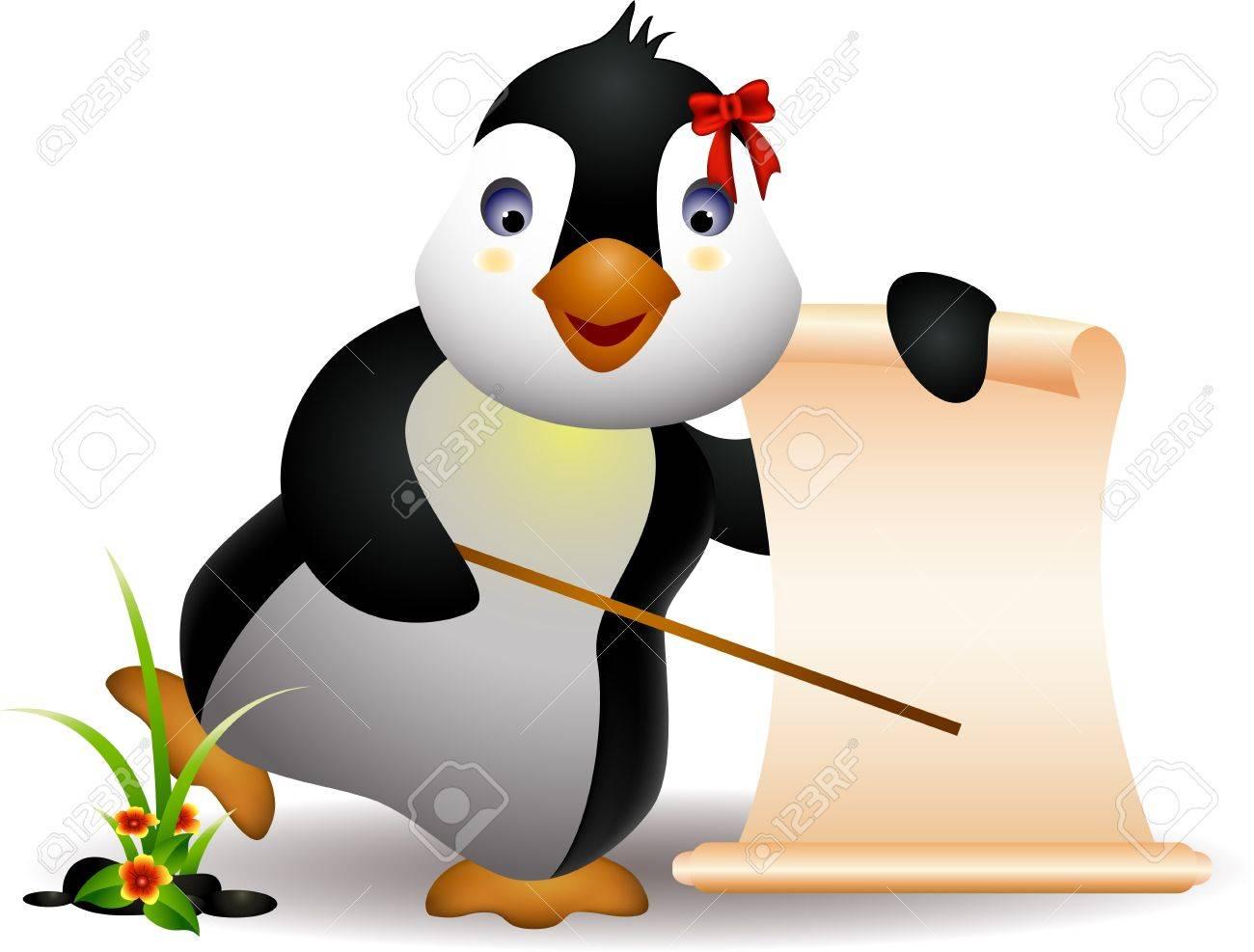 cute penguin cartoon with blank sign Stock Vector - 16387053