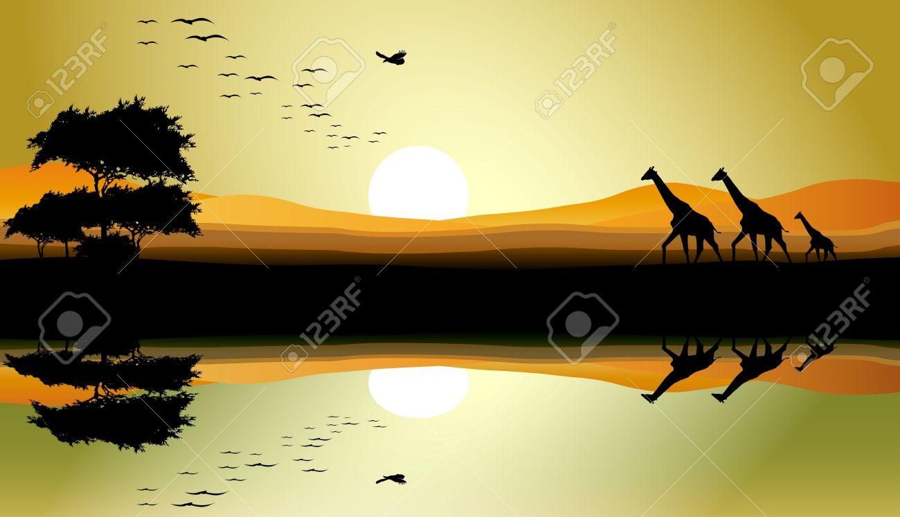 beauty safari of giraffe with landscape background Stock Vector - 16453565
